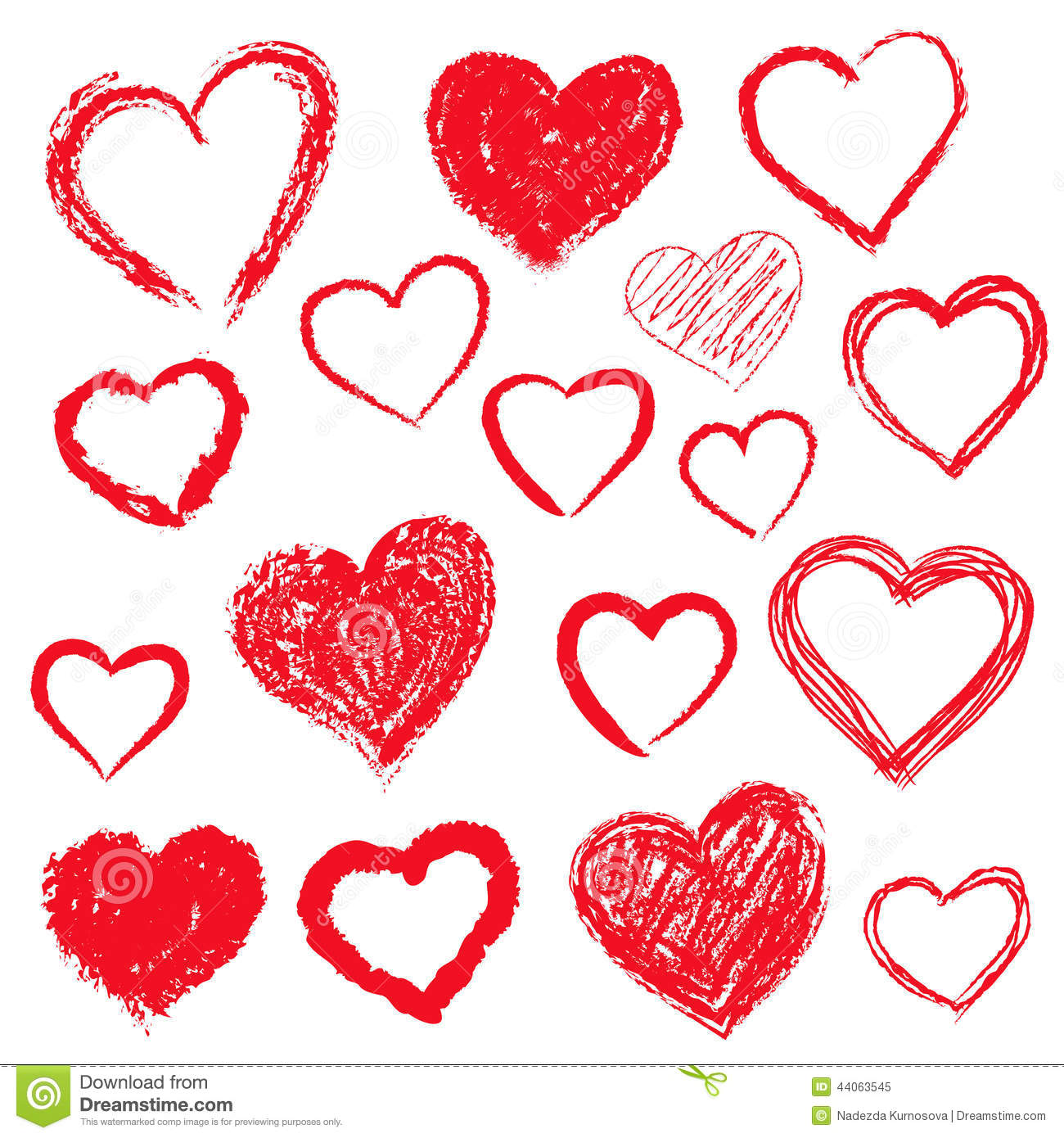 Vector Hearts Set Hand Drawn Stock Vector Image 44063545