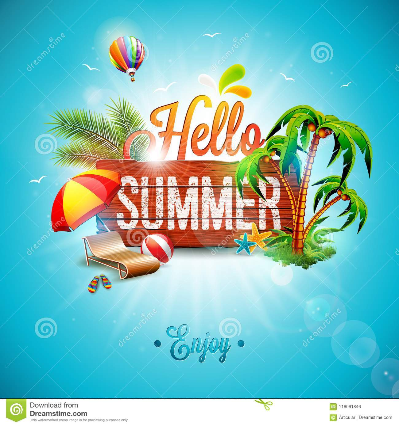 Vector Vintage Pop Art Beach Holiday Illustration Stock: Vector Hello Summer Holiday Typographic Illustration On