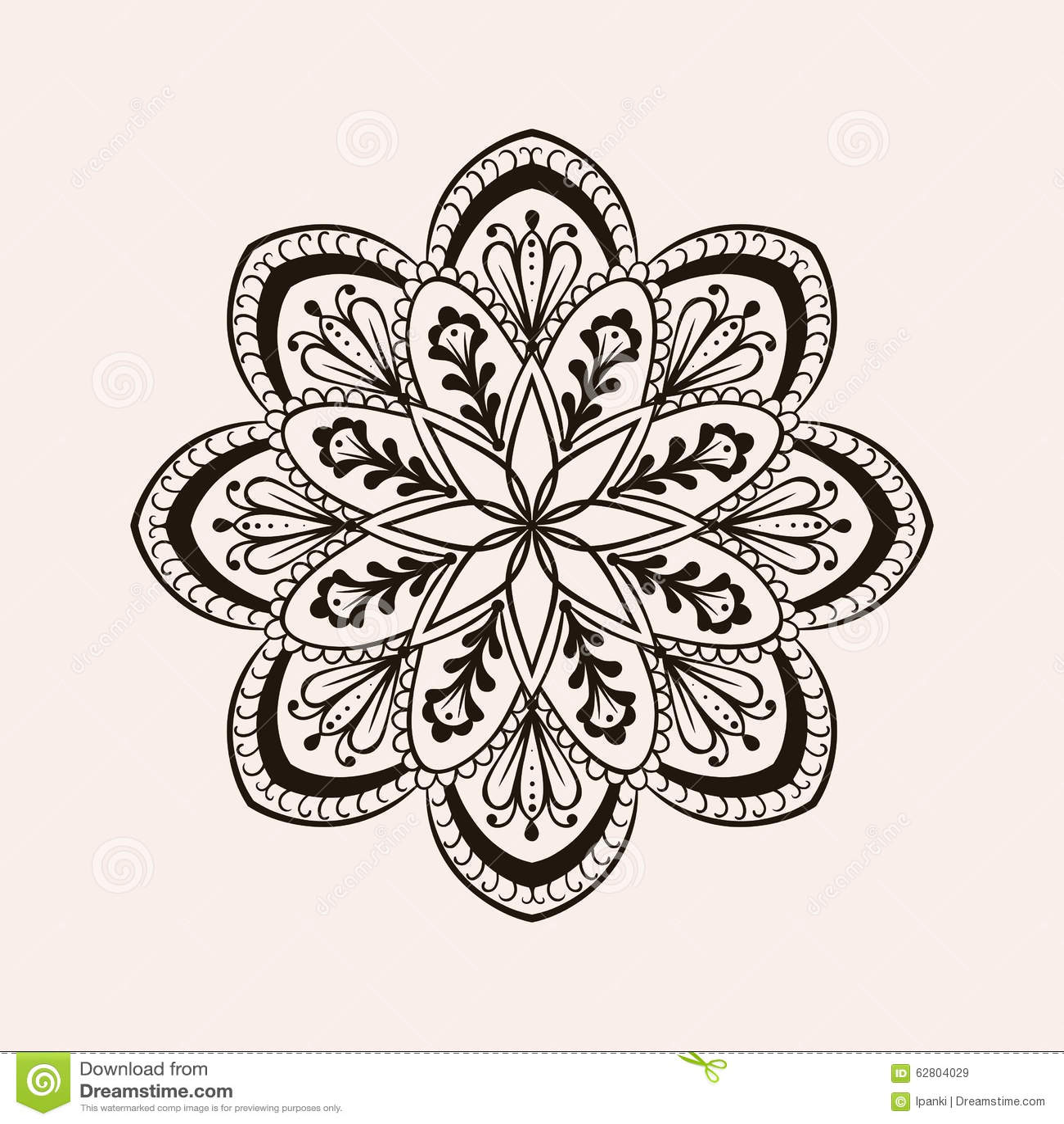 Vector Henna Ethnic Mandala Boho Tattoo Design In Doodle