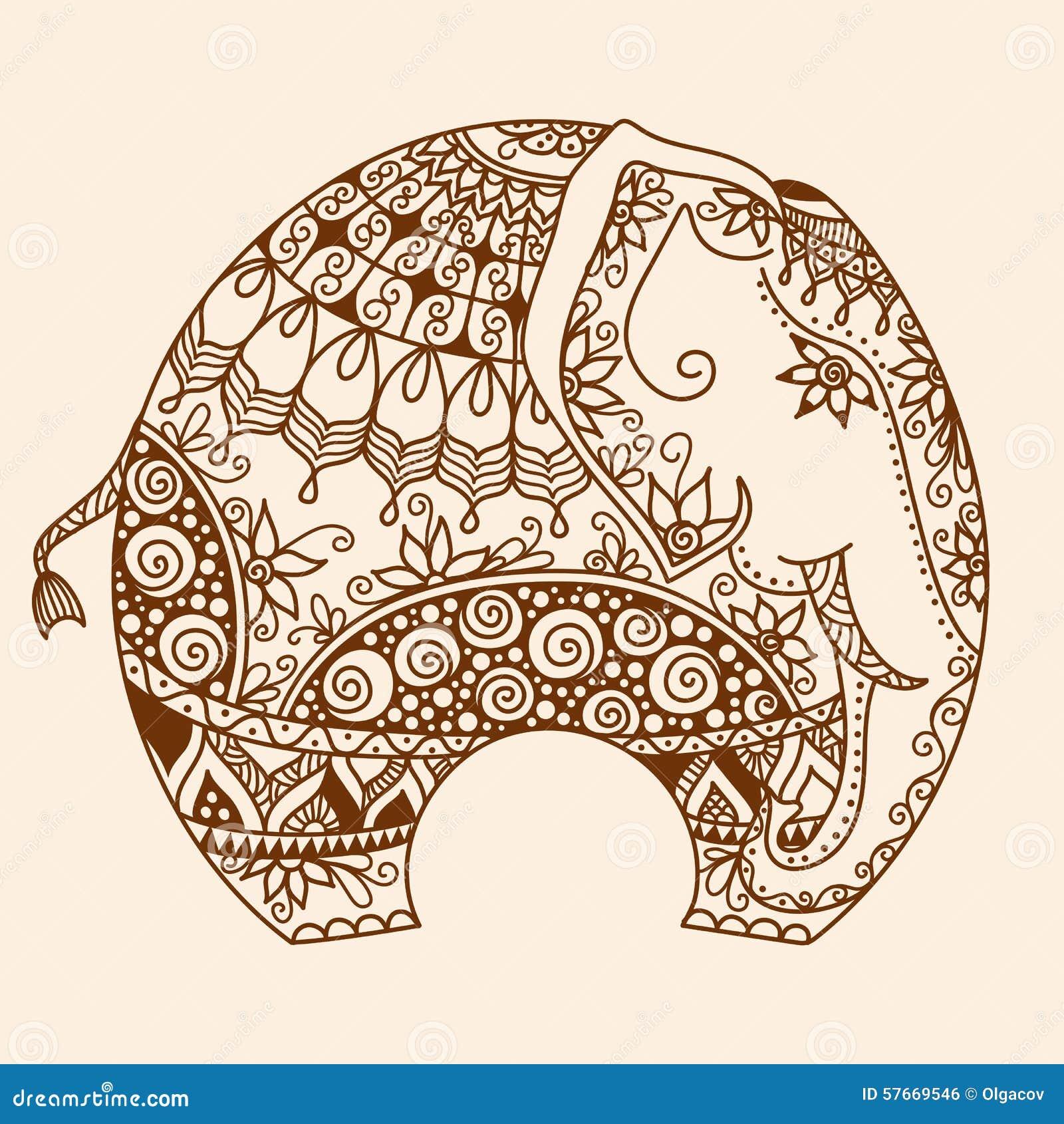 Vector Henna Mehndi Decorated Indian Elephant Stock Vector