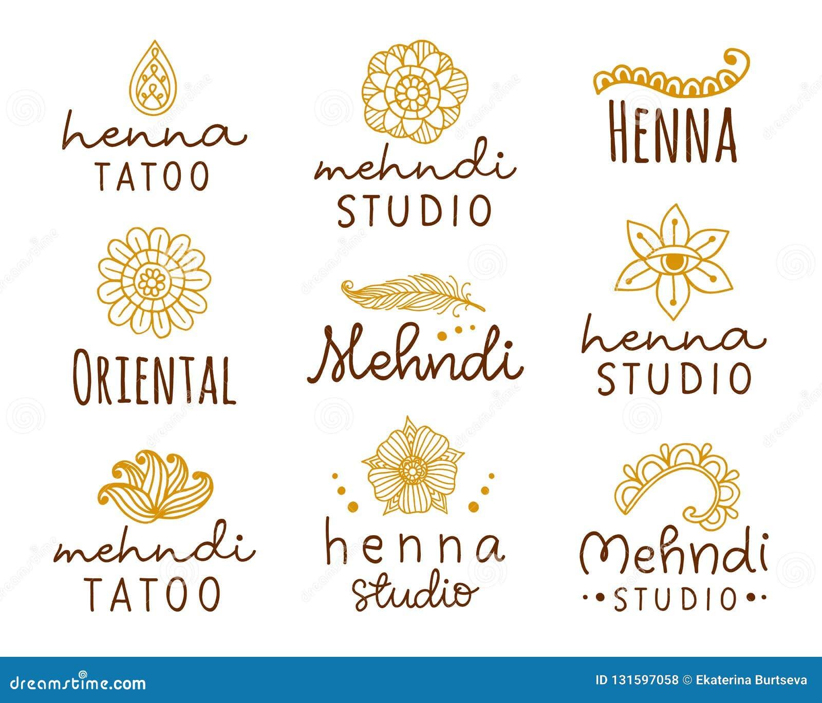 Vector Henna Mehndi Logo Set Stock Vector Illustration Of Element
