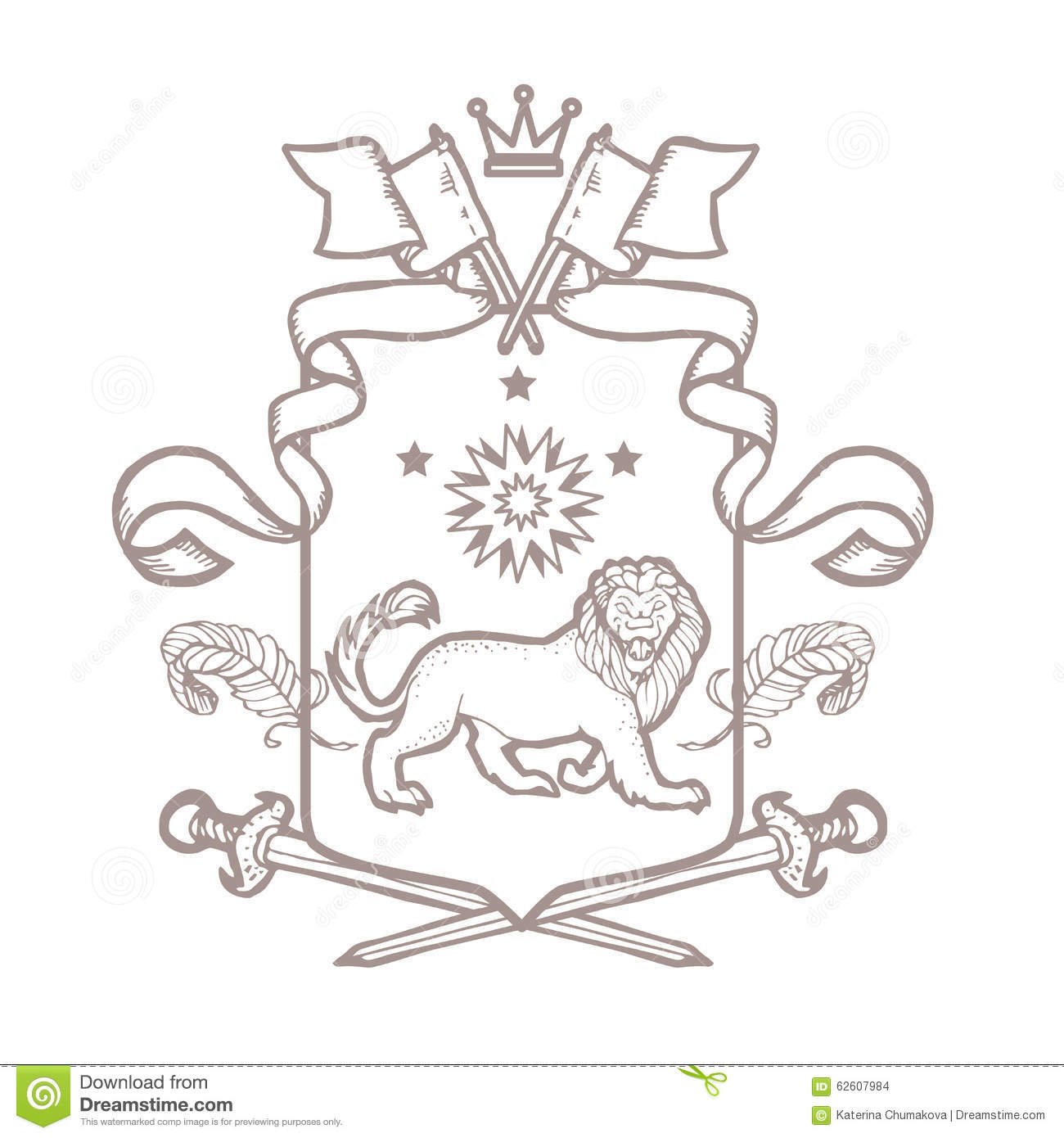 Heraldic Element Collection And Coat Of Arms Template Cartoon ...