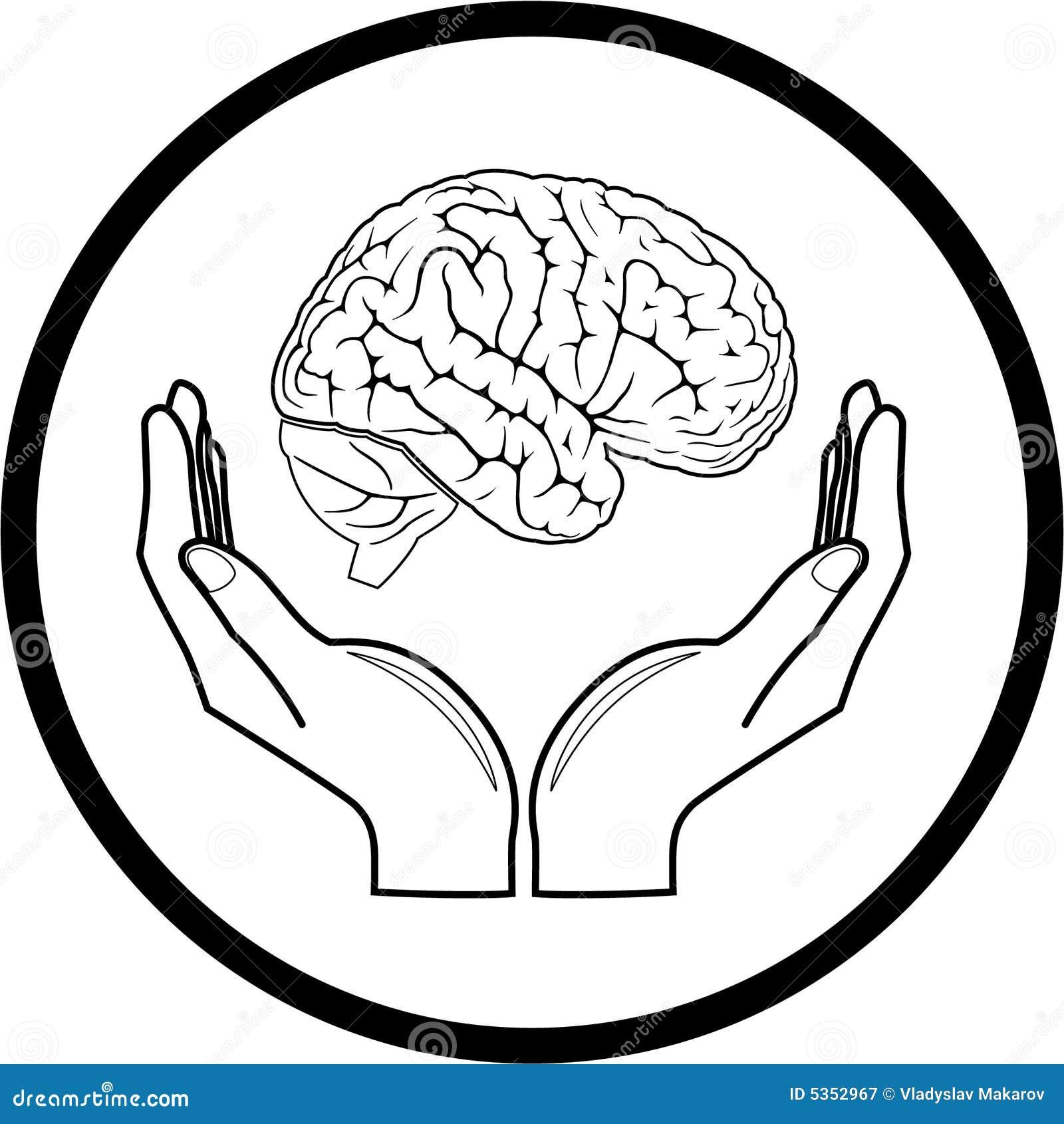 Vector hersenen in handenpictogram