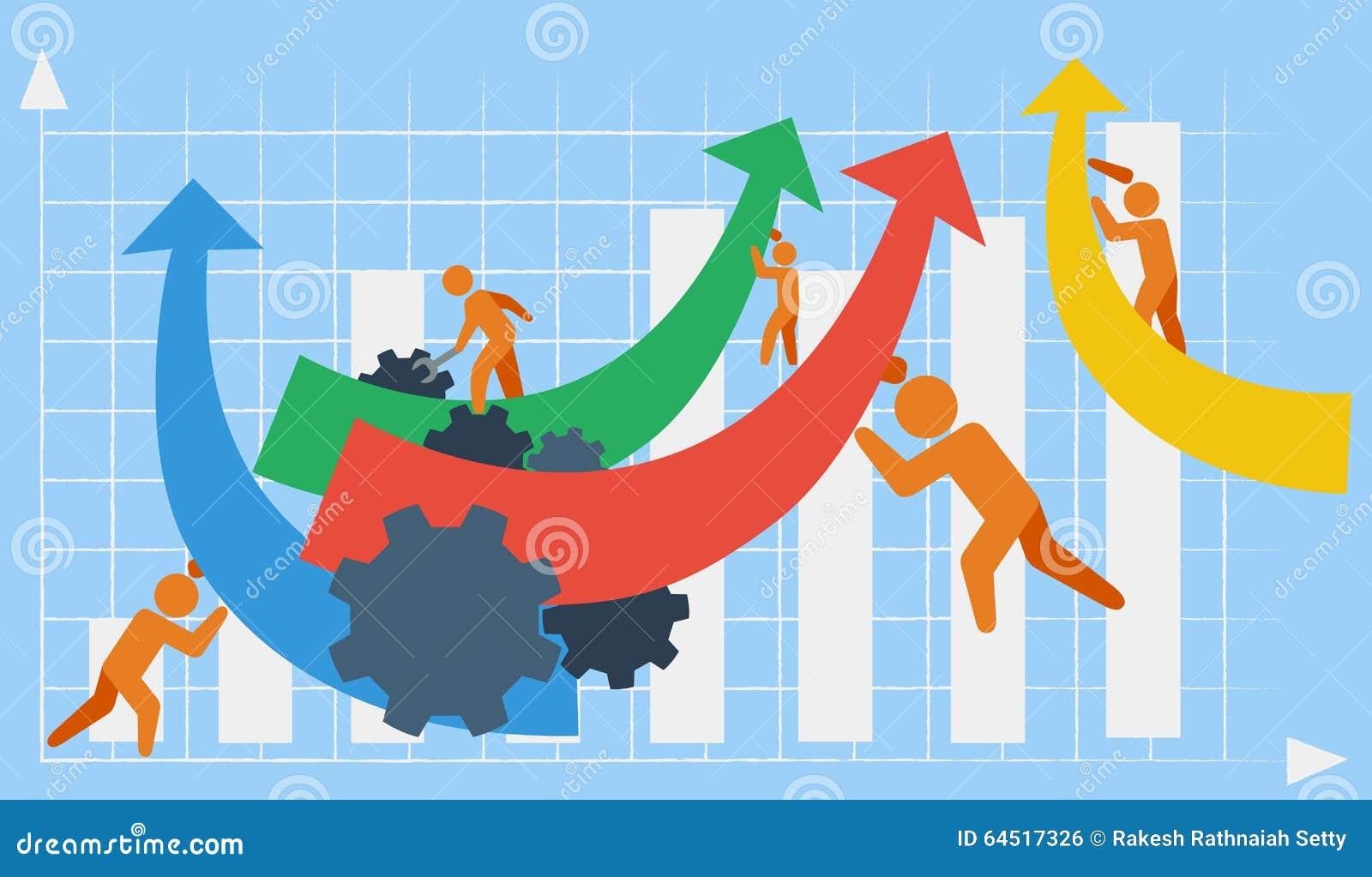 Vector het afschilderen zaken of de industriële groei in de context van het teamwerk