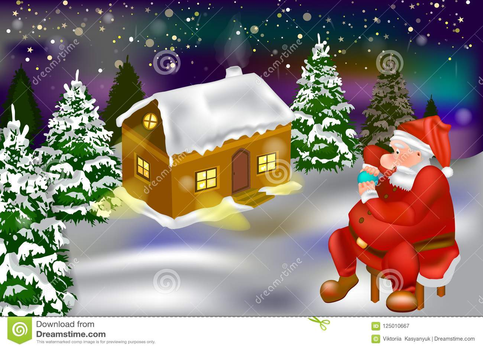 Vector - het huis van de de wintersneeuw in het bos en de Kerstman