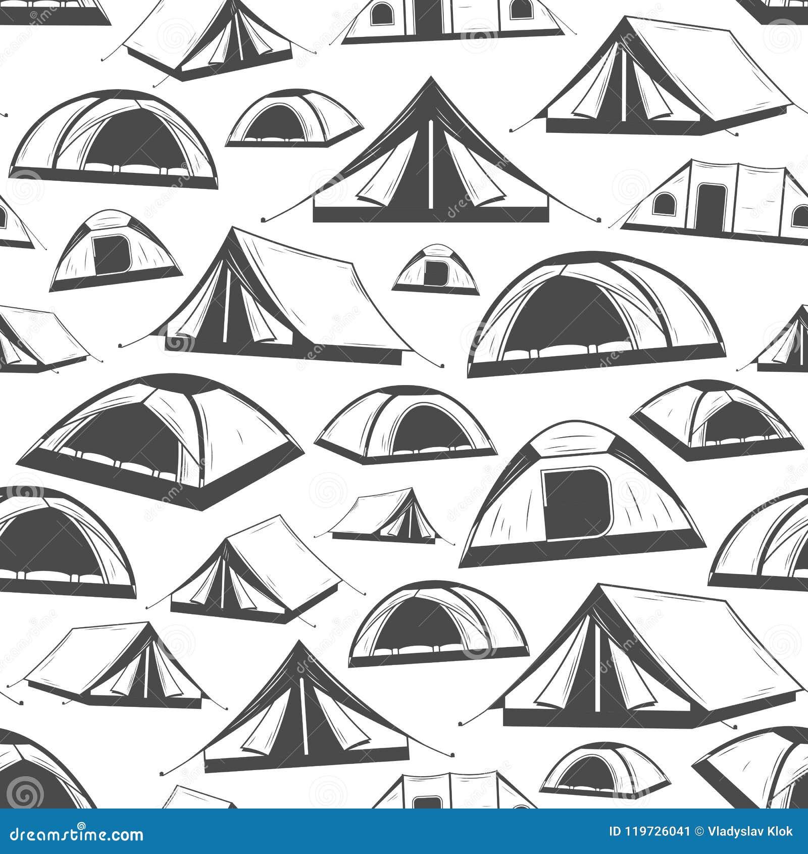 Vector het kamperen tent naadloos patroon