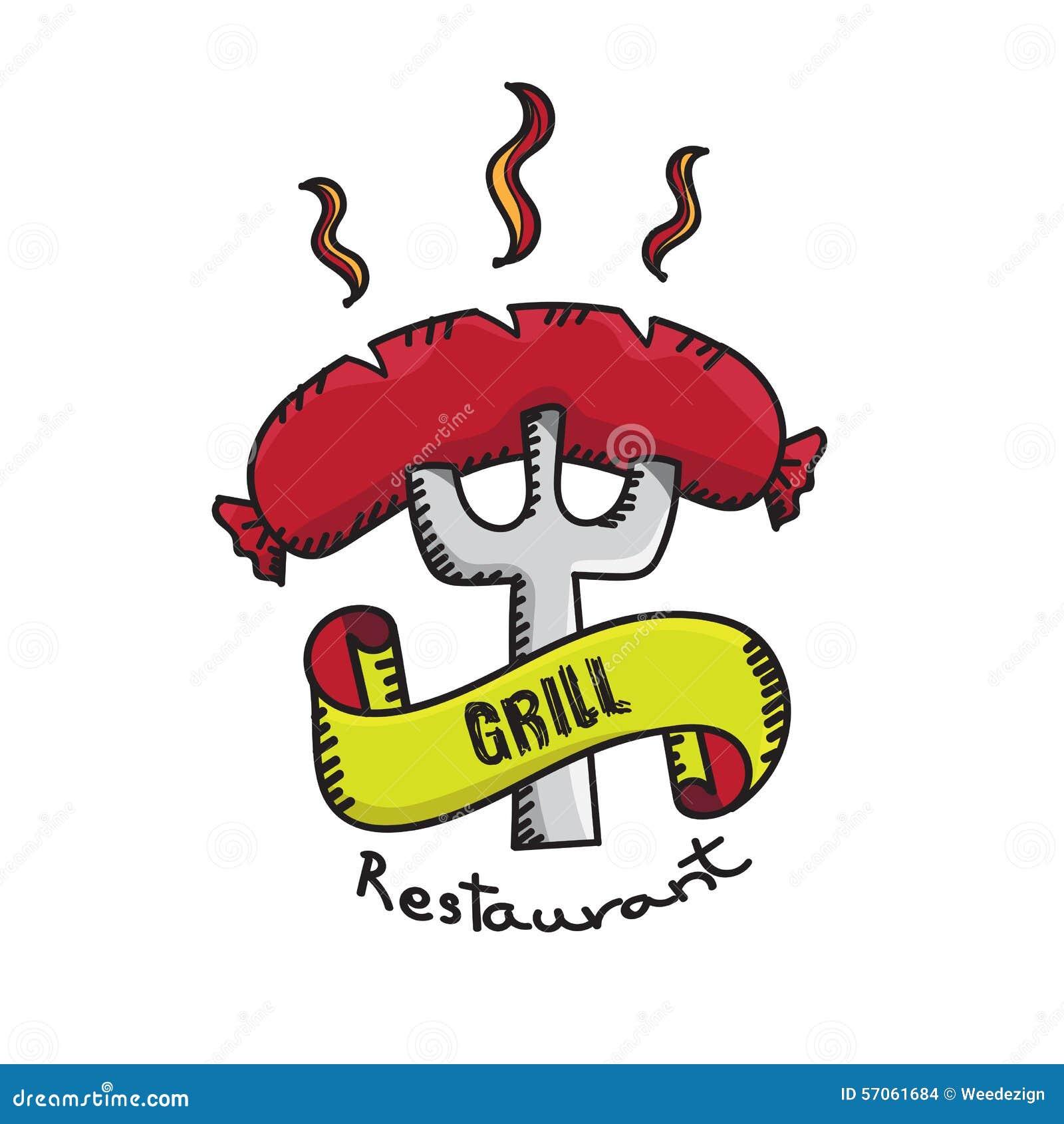Vector: Het kentekenembleem van het grillrestaurant op witte achtergrond, Barbecu