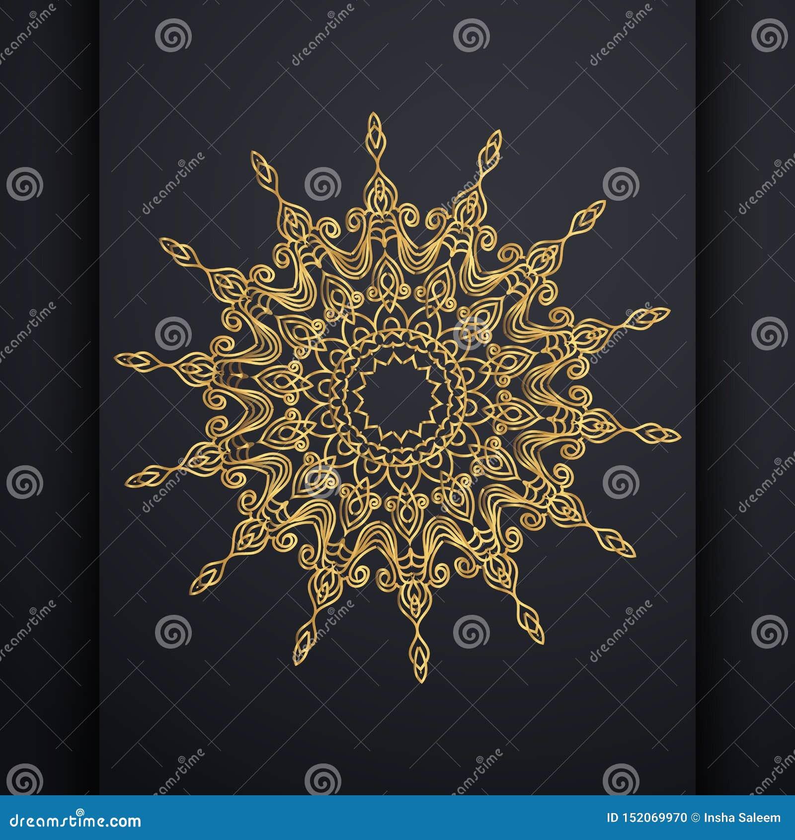 Vector het ontwerpachtergrond van luxe siermandala in gouden kleur Oosterse vector, Antistresstherapiepatronen Weefselontwerp