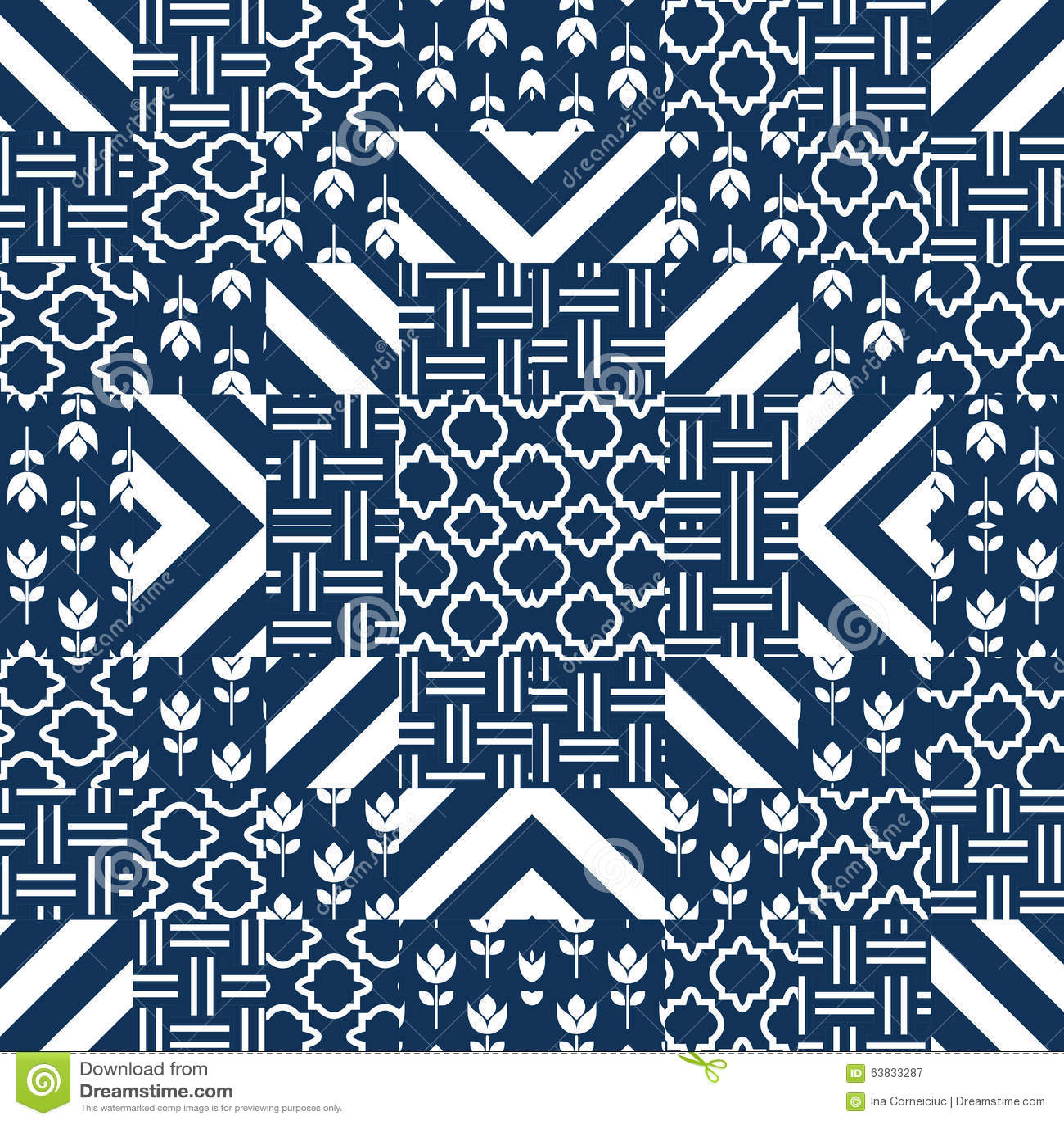 Vector het patroontegels van het lapwerkdekbed