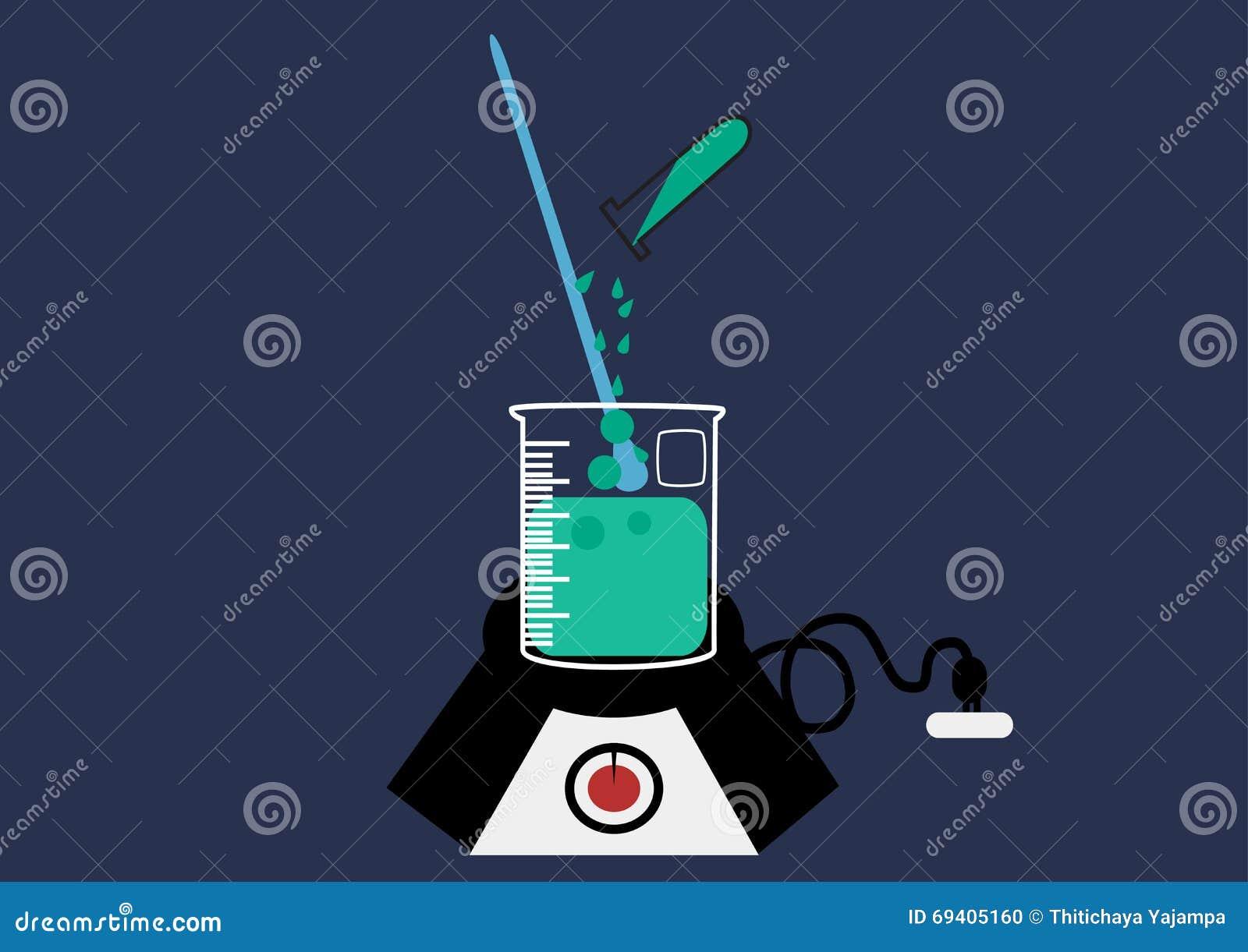 Vector het Pictogramreeks van het wetenschapslaboratorium, chemische geplaatste pictogrammen, Chemisch Laboratorium, chemisch gla