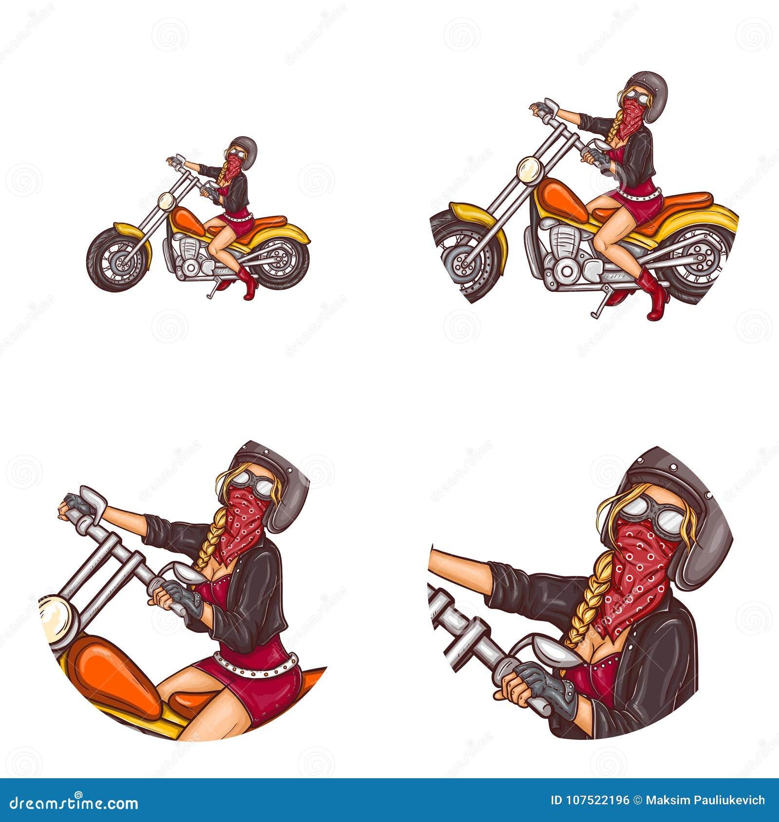 Vector het pop-artavatar van het fietser sexy meisje pictogrammen