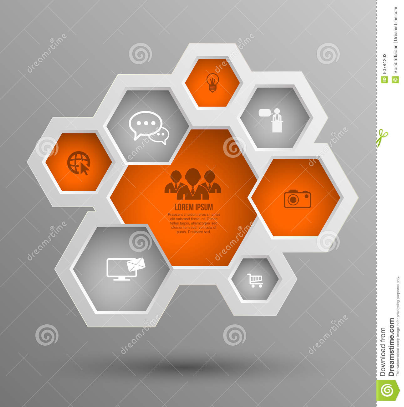 vector hexagon group with icons for business concepts business concepts