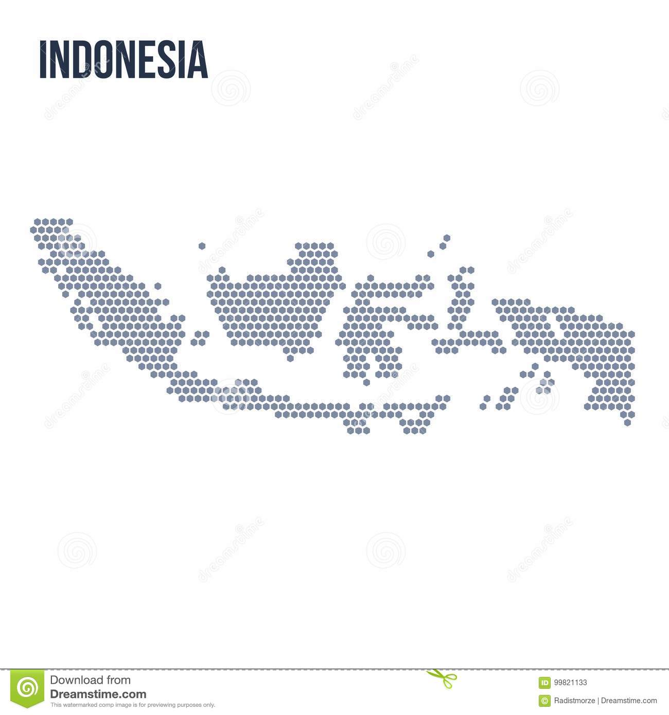 Vector Hexagon Map Of Indonesia Isolated On White Background Stock
