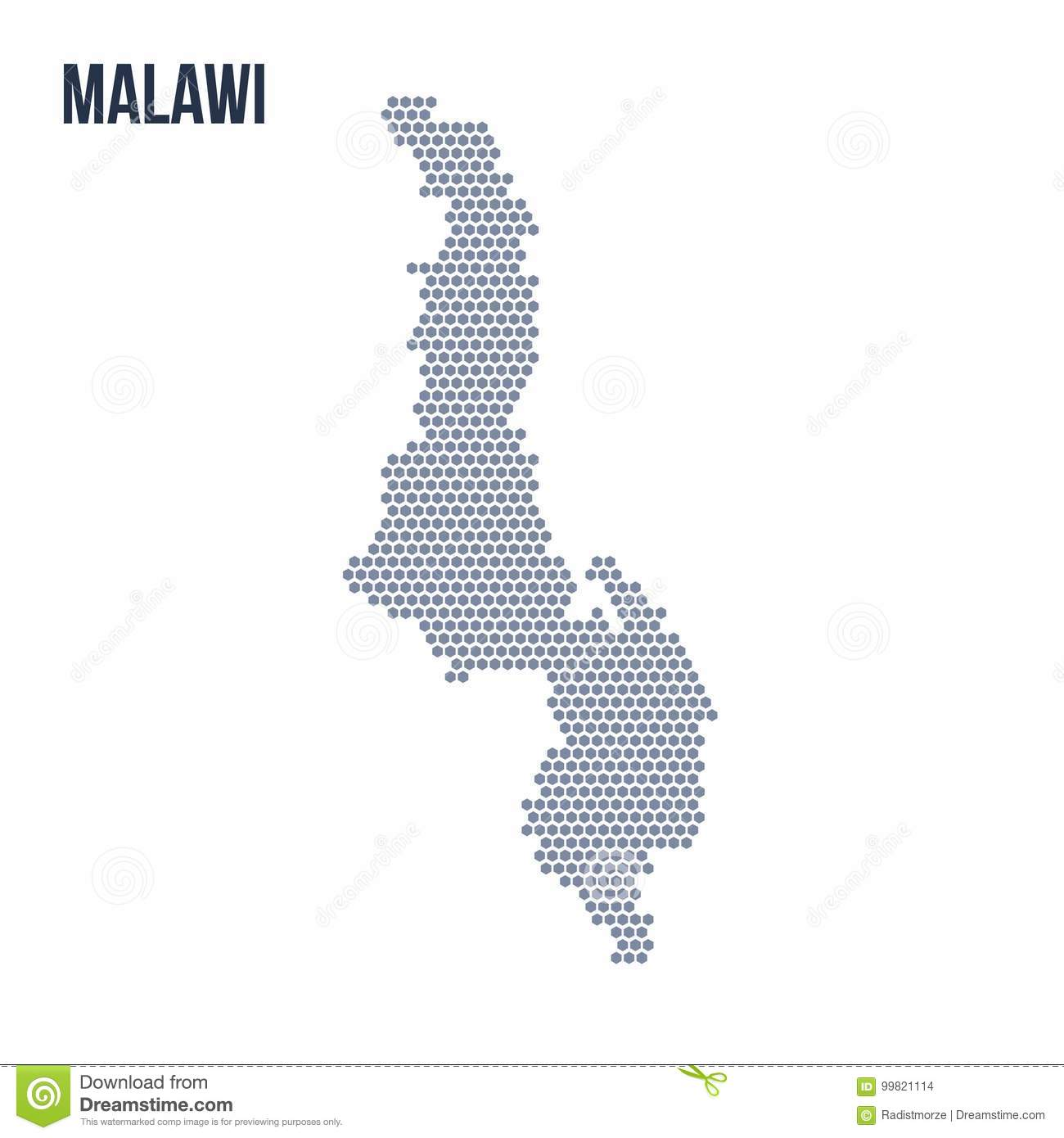 Vector Hexagon Map Of Malawi Isolated On White Background