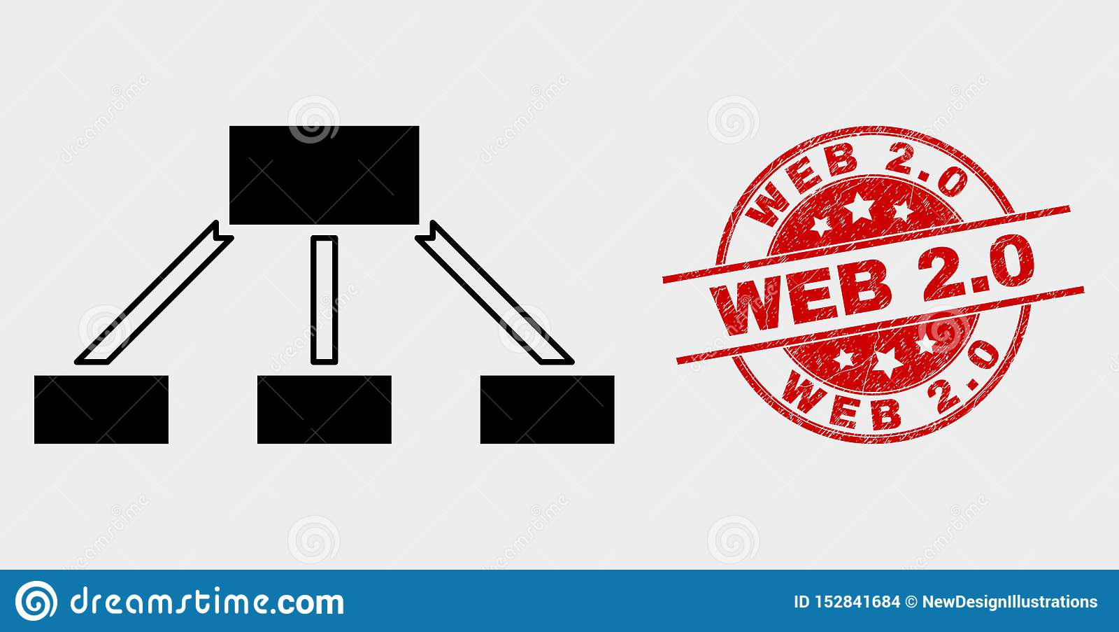 Vector Hierarchy Links Icon and Distress Web 2.0 Seal
