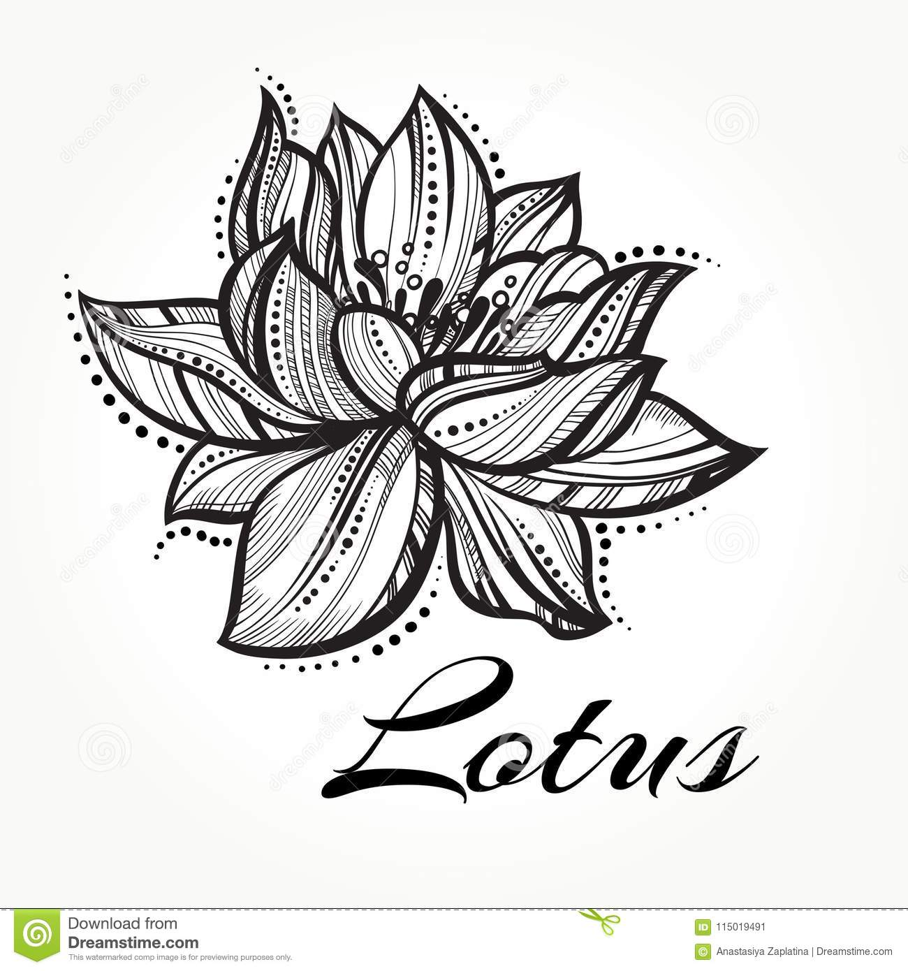 Vector High Detailed Beautiful Lotus Flower Tattoo Yoga