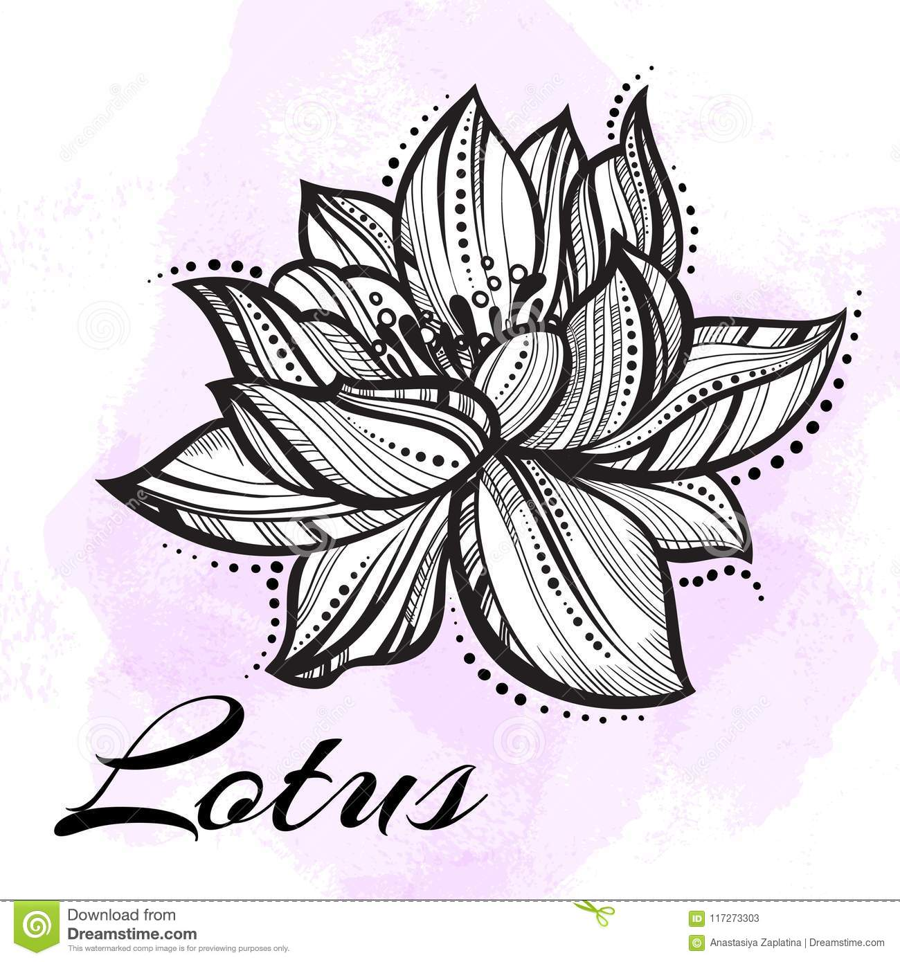 Vector high detailed beautiful lotus flower tattoo yoga download comp izmirmasajfo