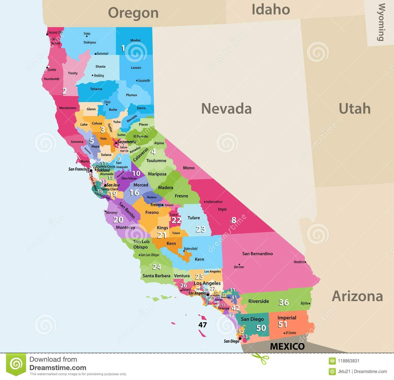 Vector High Detailed Map Of California S Congressional Districts