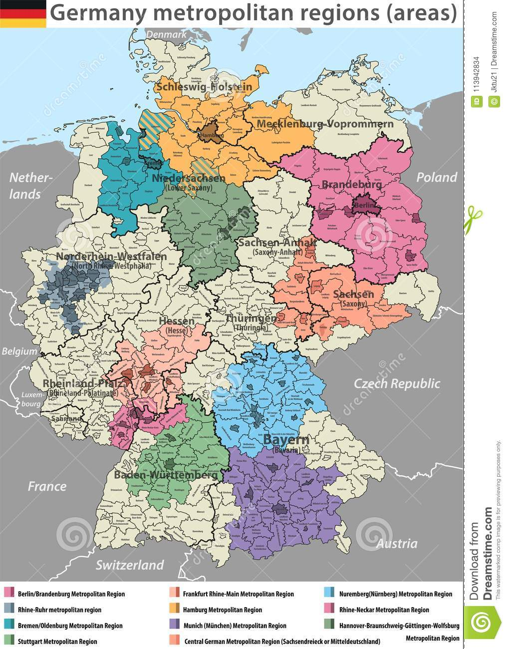 Vector High Detailed Map Of Germany Metropolitan Regions Areas Stock