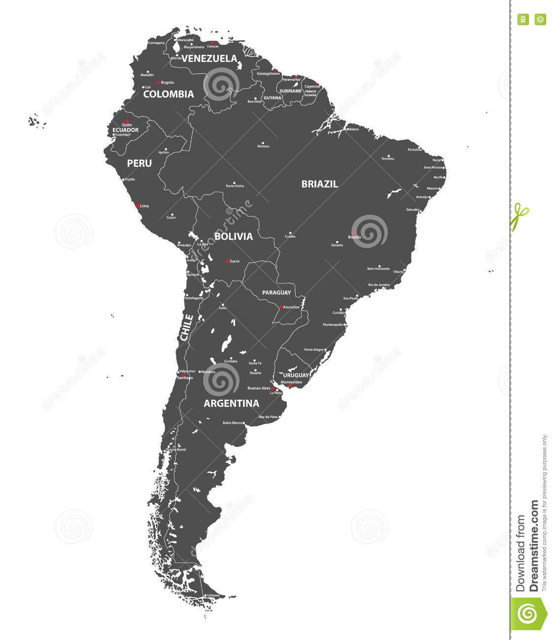 Vector High Detailed Map Of South America. All Layers Detached And ...