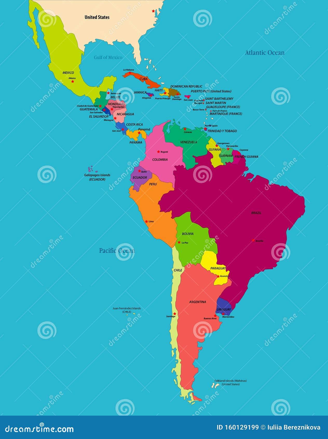 America Politica Cartina.Vector Political Map Of Latin America Stock Vector Illustration Of Capital Colorful 160129199