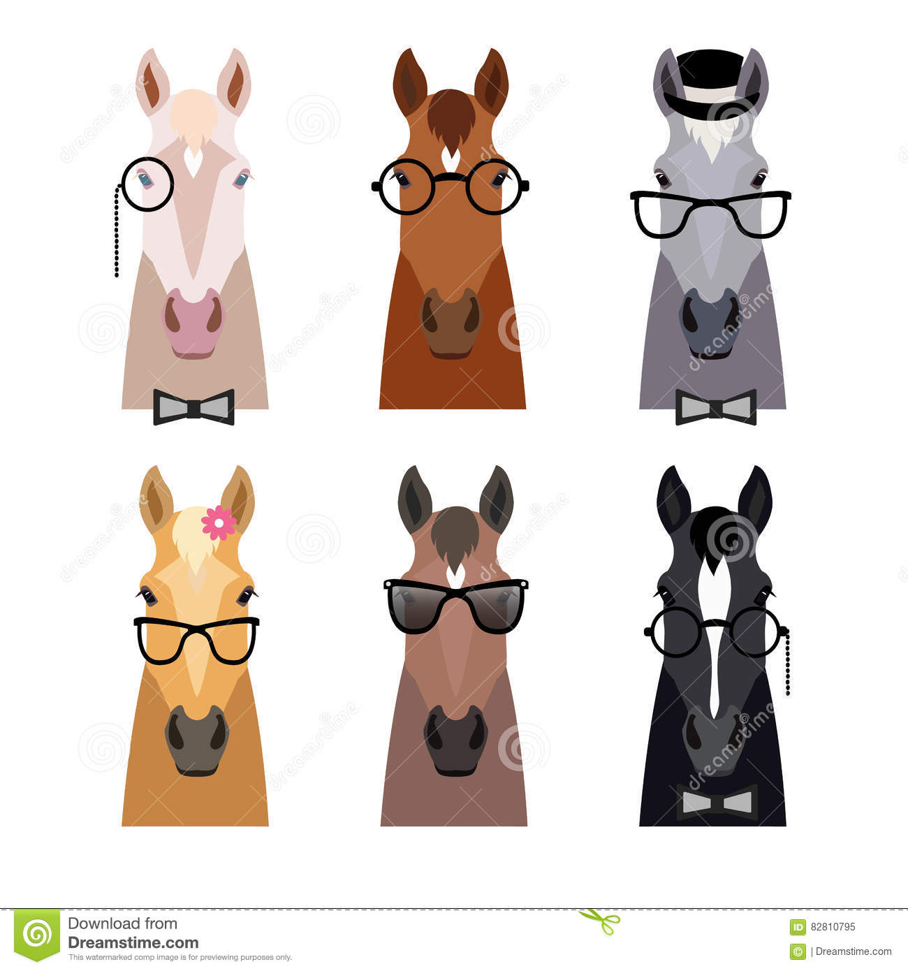 Vector Hipster Horse Head In Glasses Bow Flat Cartoon Style Stock Vector Illustration Of Happy Animal 82810795