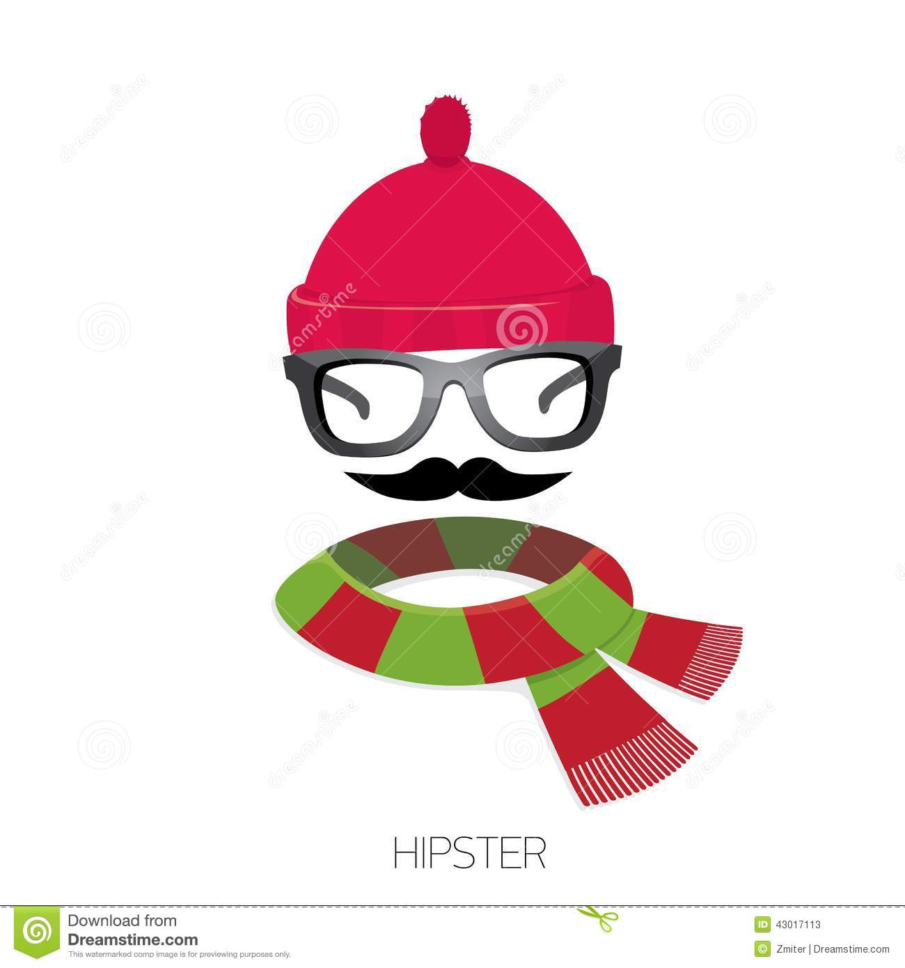 Vector Hipster Icon Hipster Fashion Silhouette Stock Vector Image 43017113