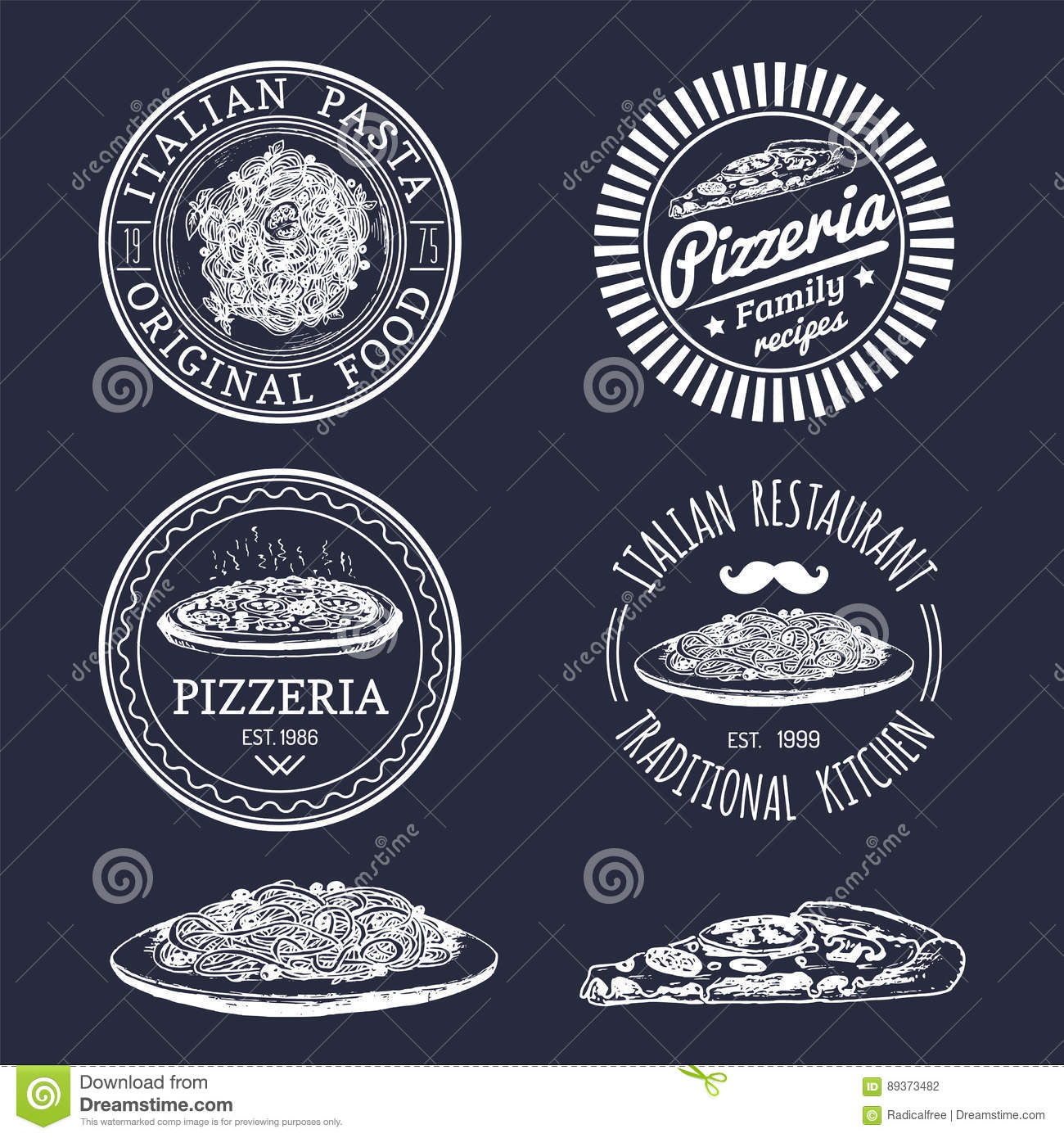 Vector Hipster Italian Food Logos Modern Pasta And Pizza