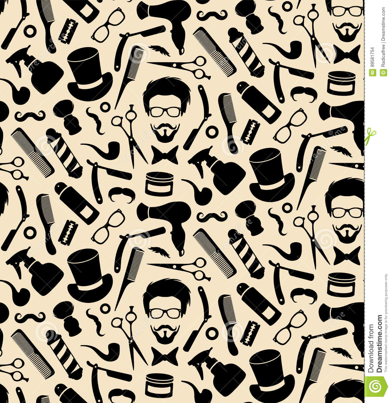 Barbershop Seamless Background Pattern Cartoon Vector ...