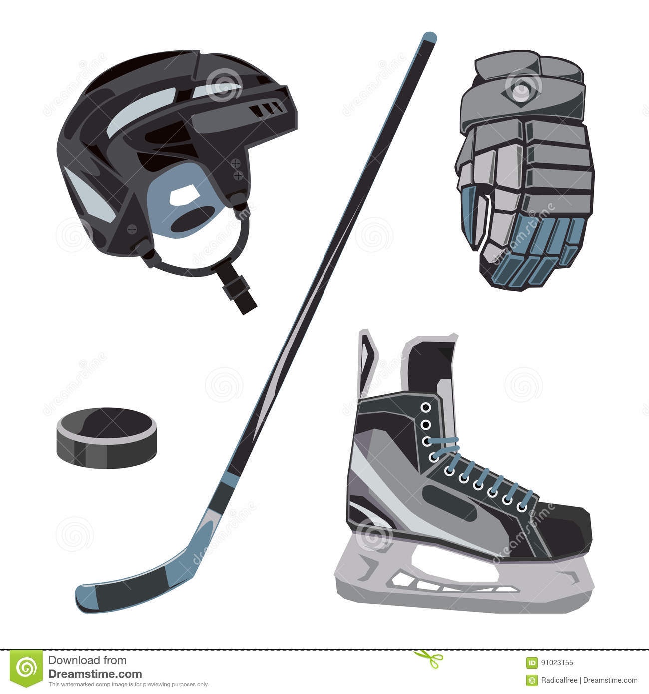 Vector Hockey Icons Set In Flat Style. Ice Equipment