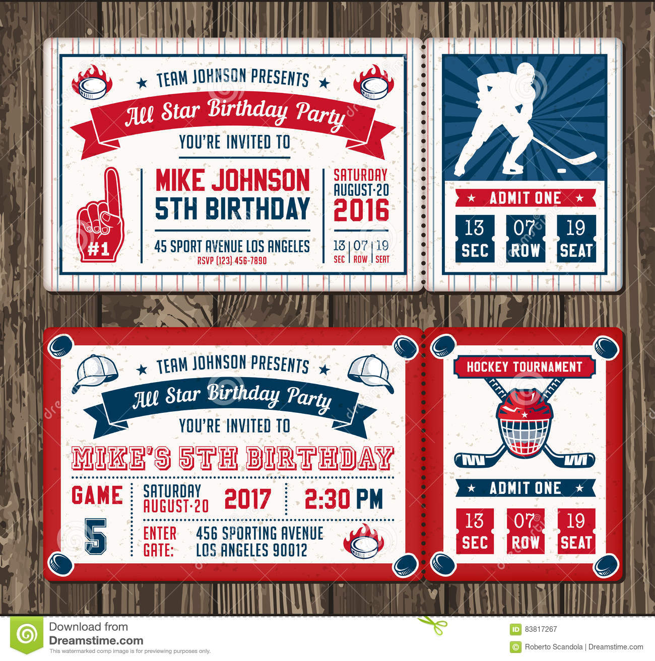 Vector Hockey Invite Templates Vector Image 83817267 – Sports Ticket Invitation Template Free