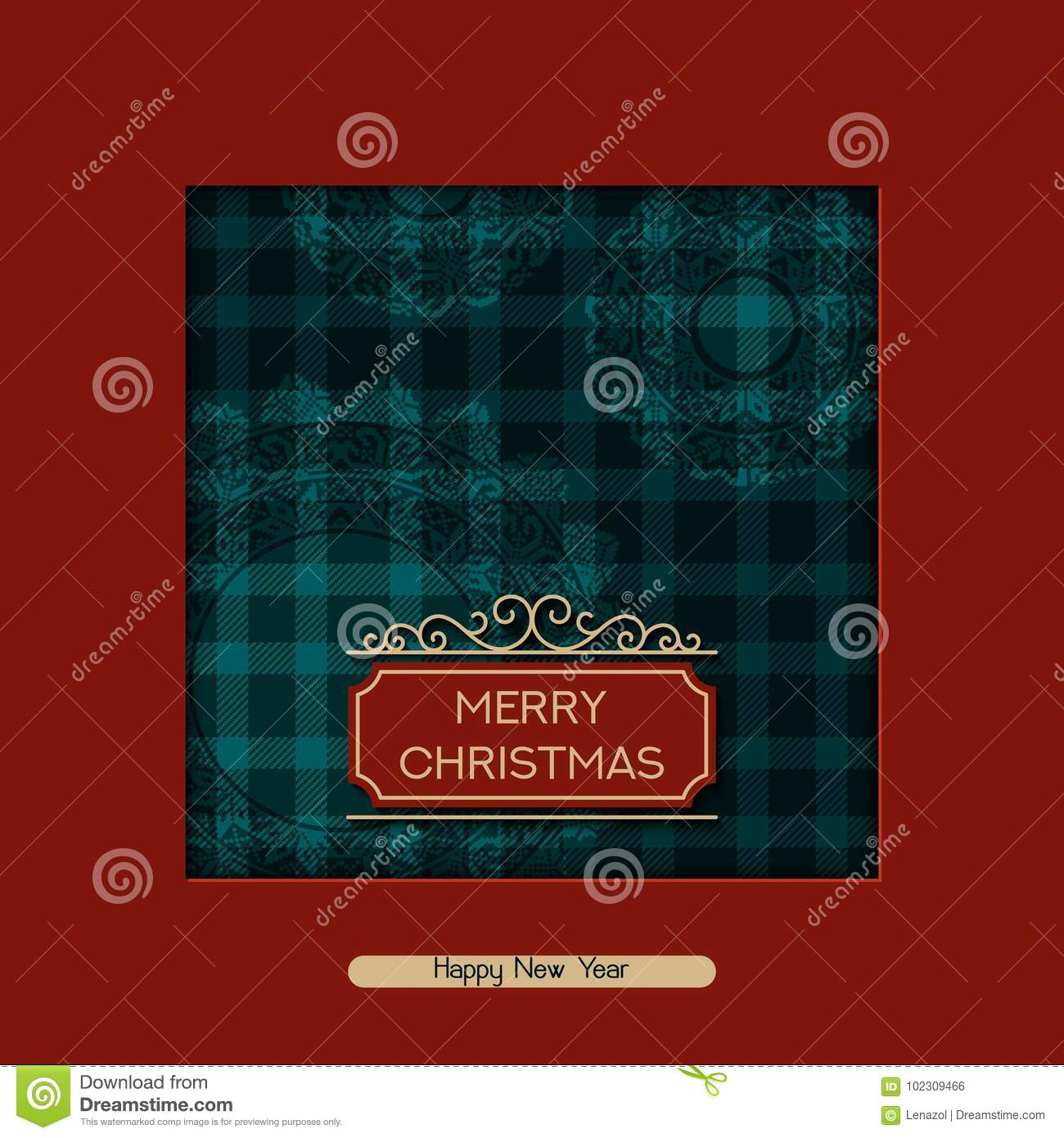 Vector Christmas Postcard With Greeting Words Tartan Pattern And
