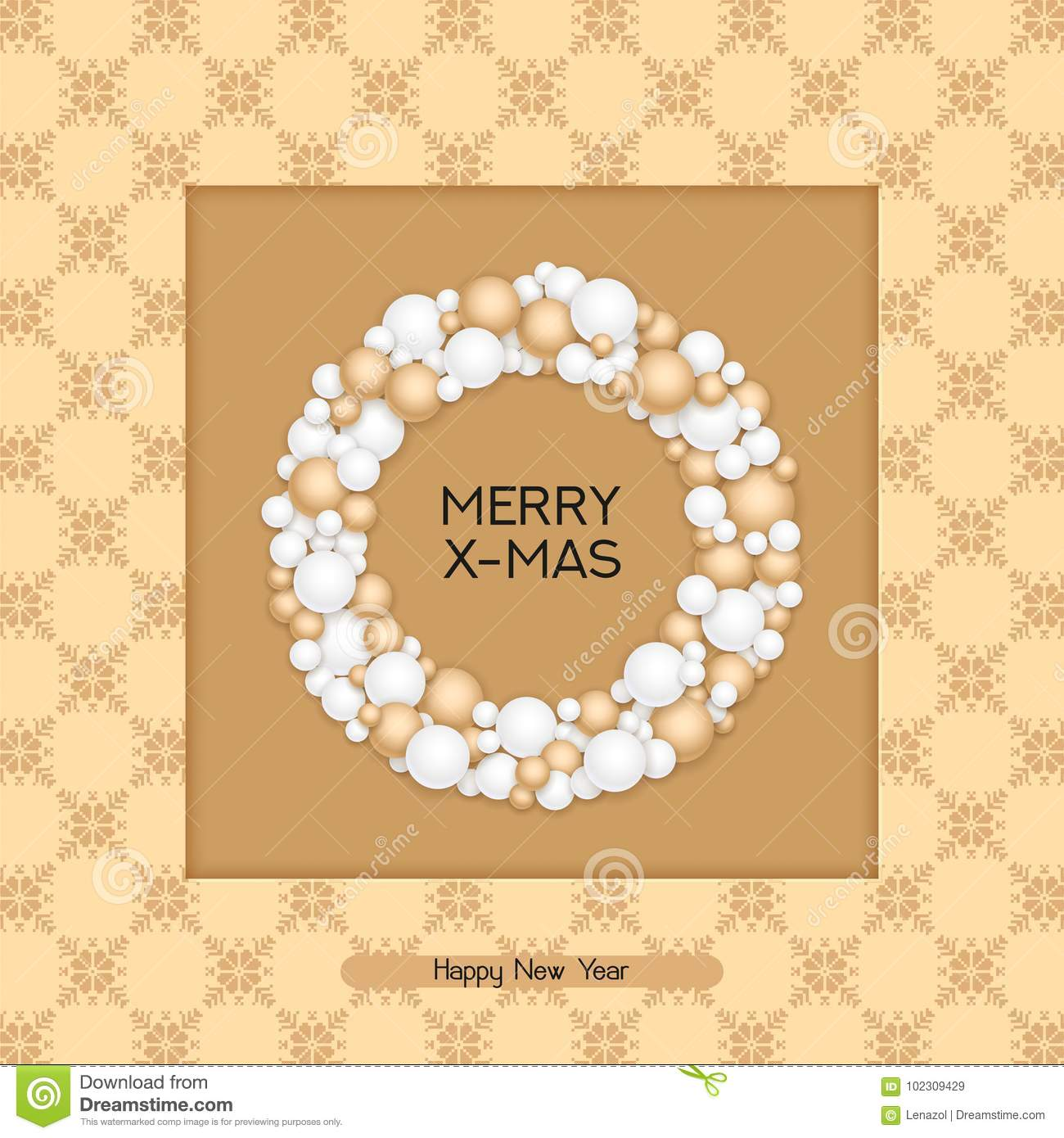 Vector Christmas Postcard With Greeting Words, Winter Ornament And ...