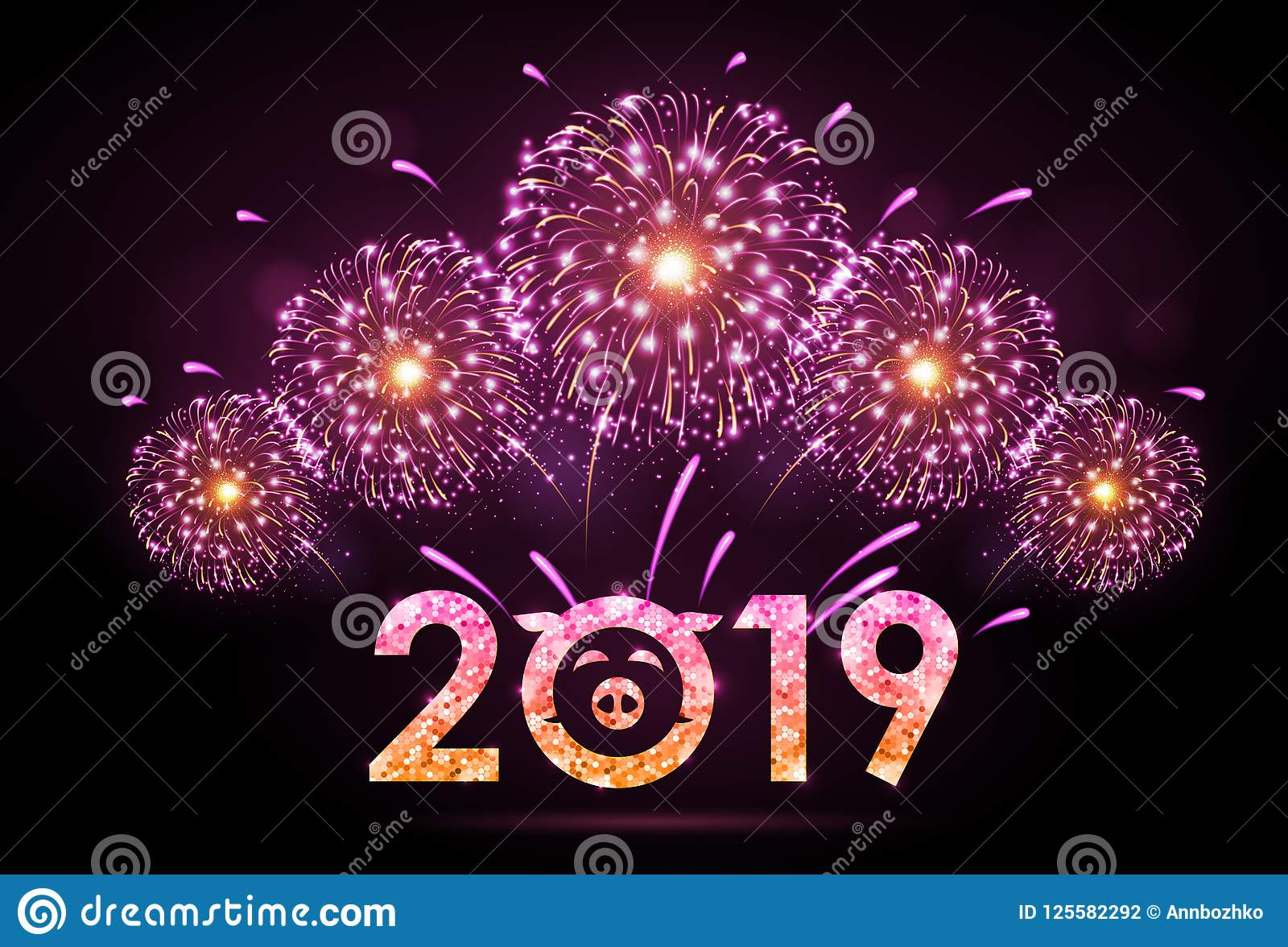 vector holiday festival pink firework happy new year card