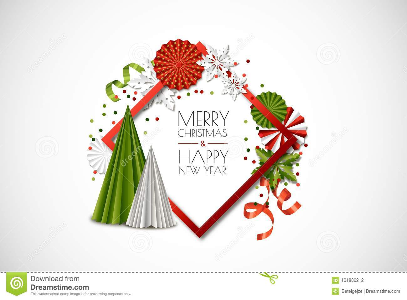 Vector Holiday Frame With Paper Decoration, Snowflakes, Christmas ...
