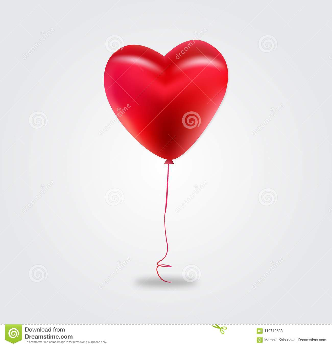 Vector Holiday Illustration Of Flying Red Balloon Heart Happy
