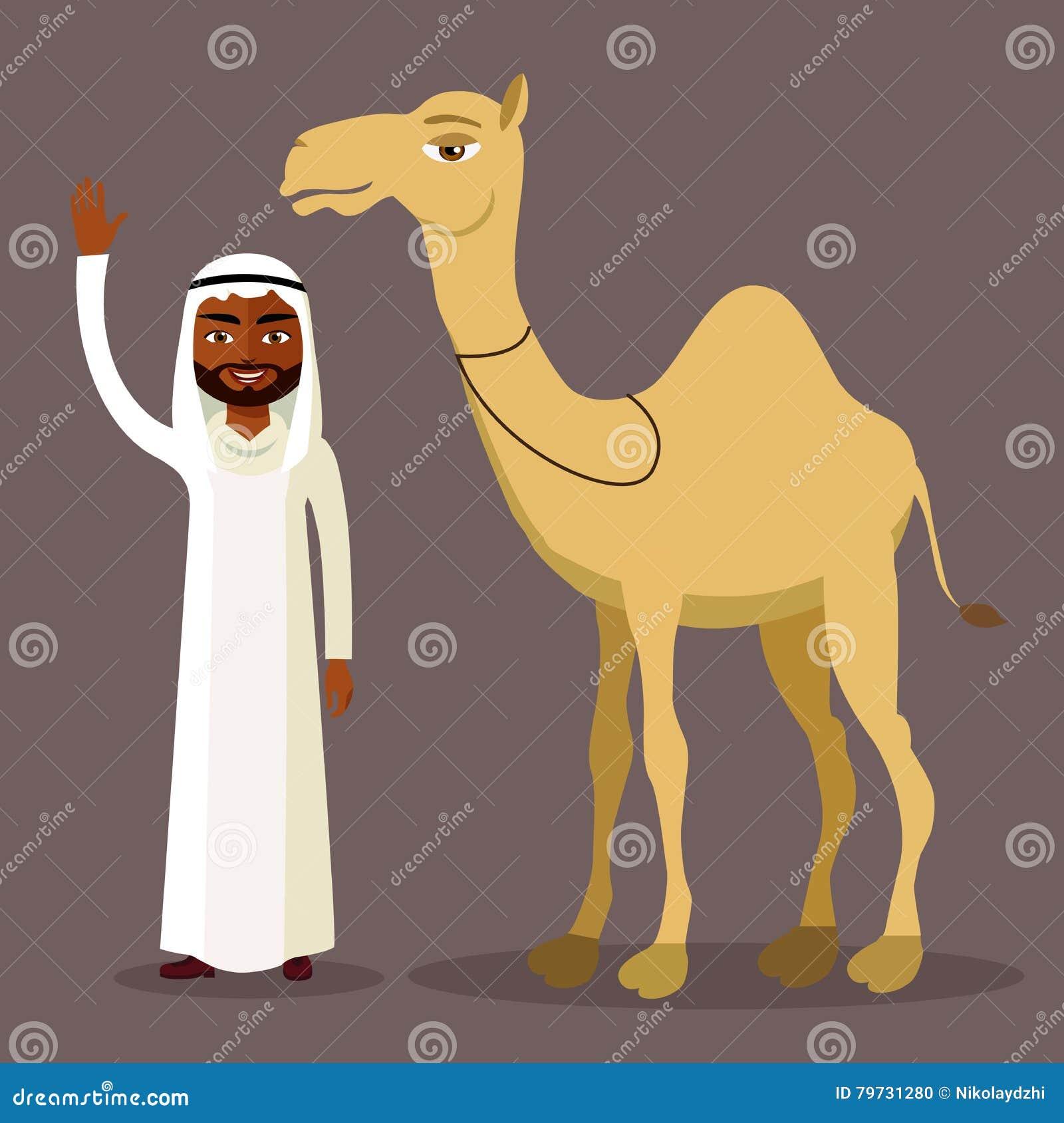 Vector - hombre árabe que agita su mano y camello divertido Aislado