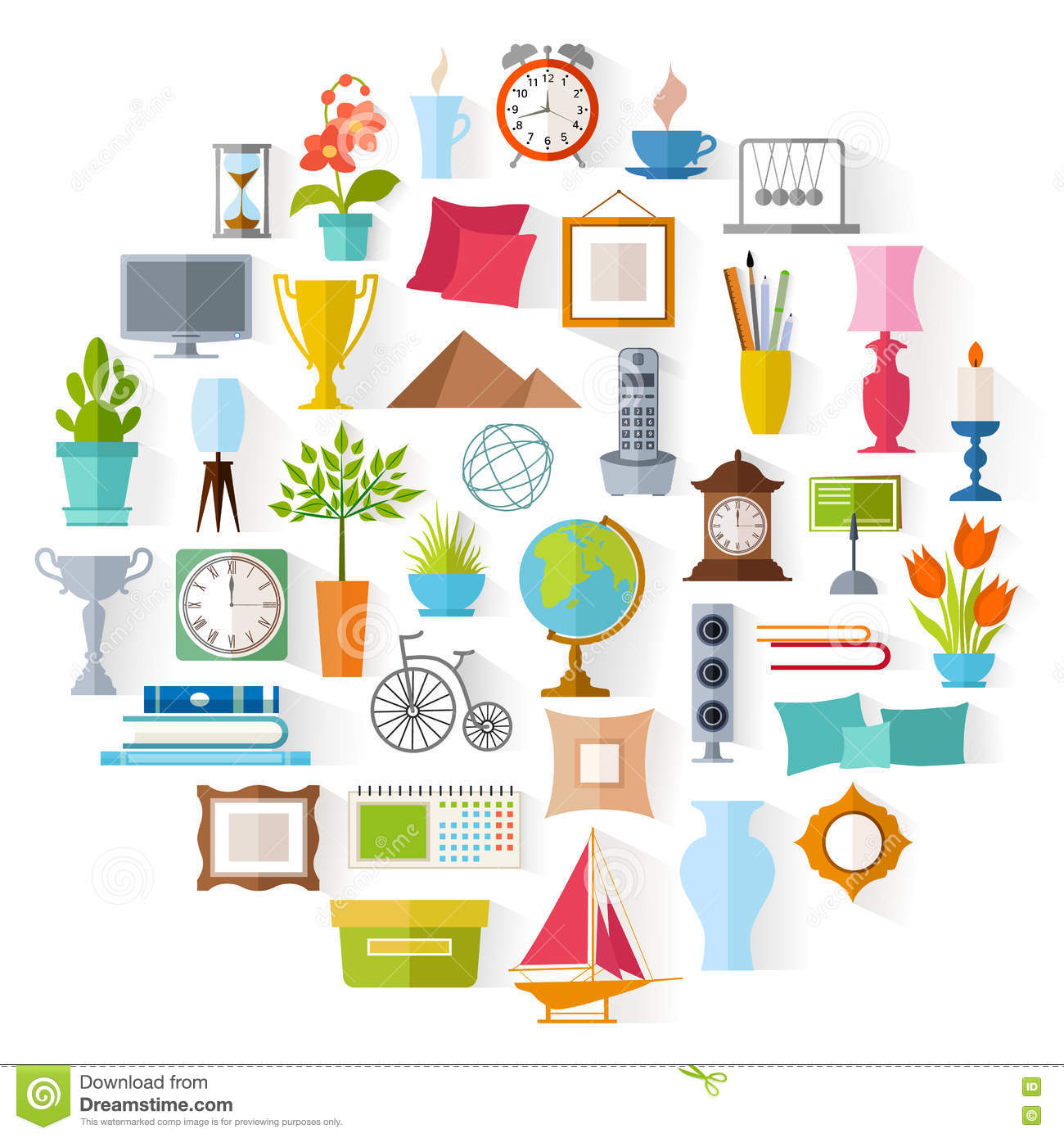 Vector Home Decor Interior Design Stock Vector Illustration Of