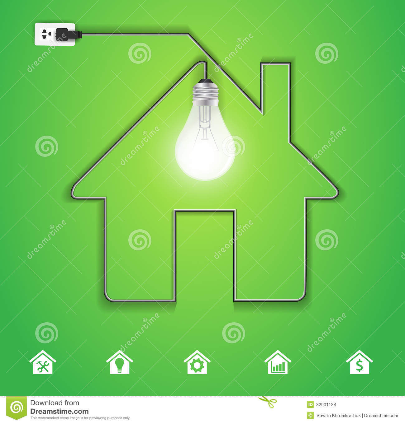 Vector Home Icon With Creative Light Bulb