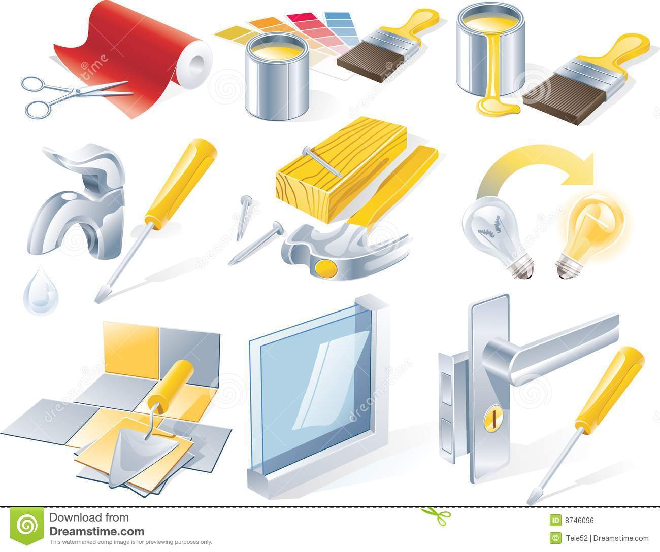 Vector Home Repair Service Icon Set Royalty Free Stock