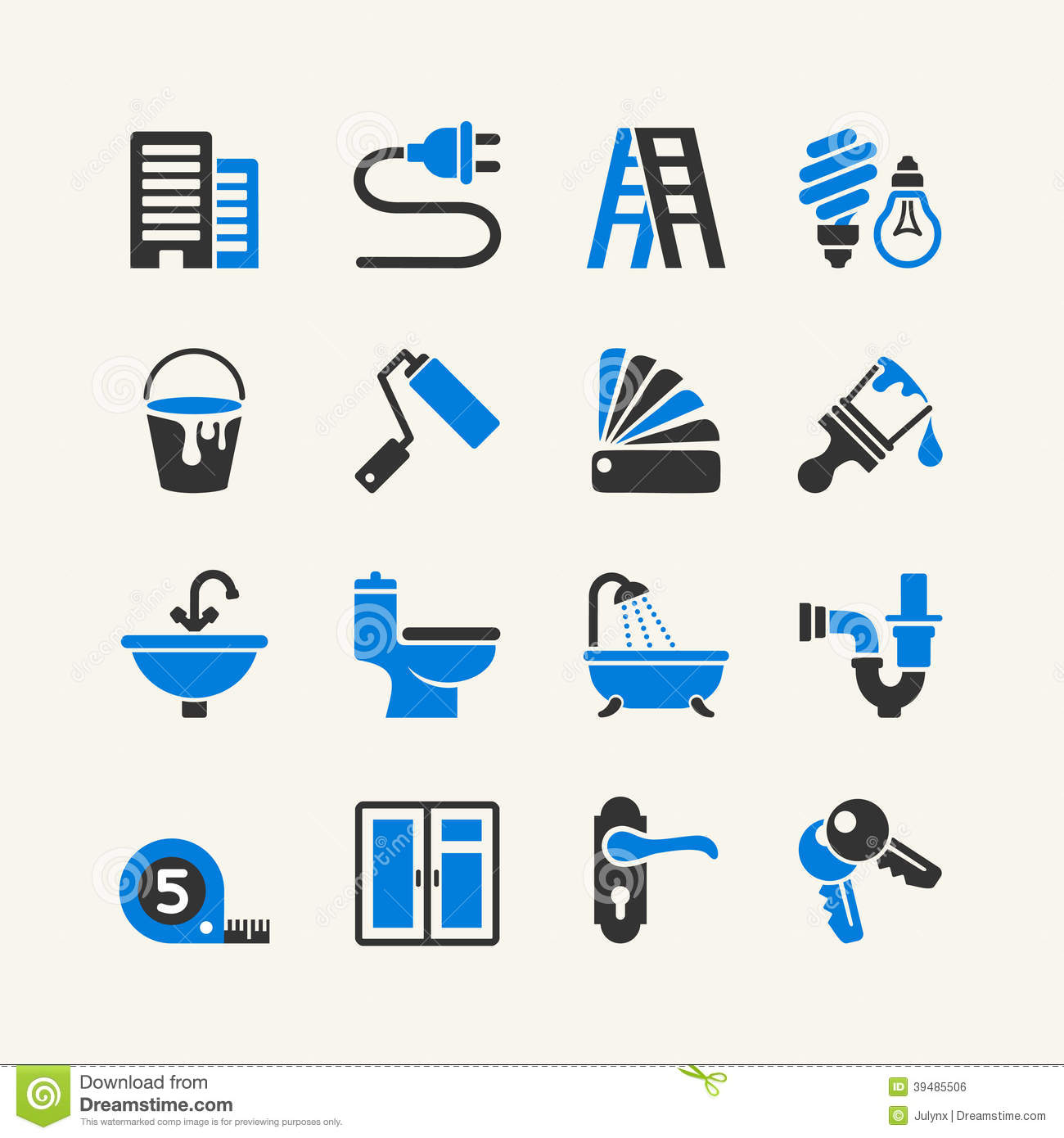 vector home repairs icon collection stock vector image 39485506
