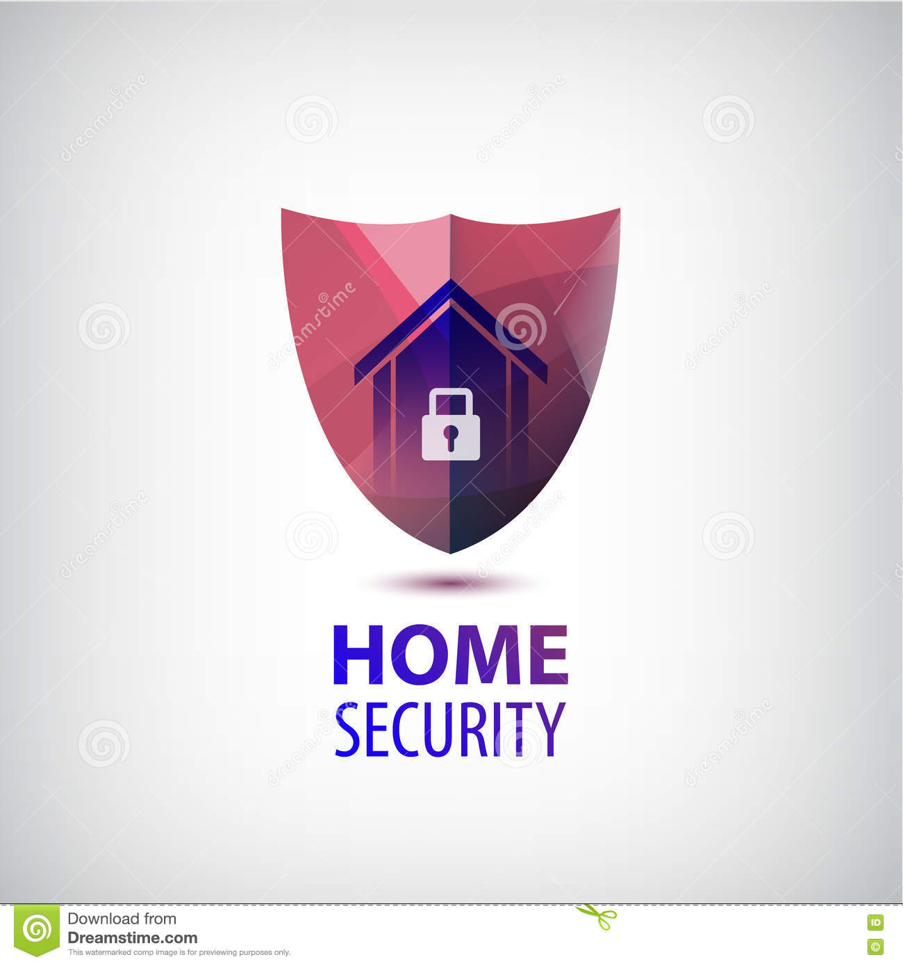 Shield House vector home security logo. 3d red shield with house and lock