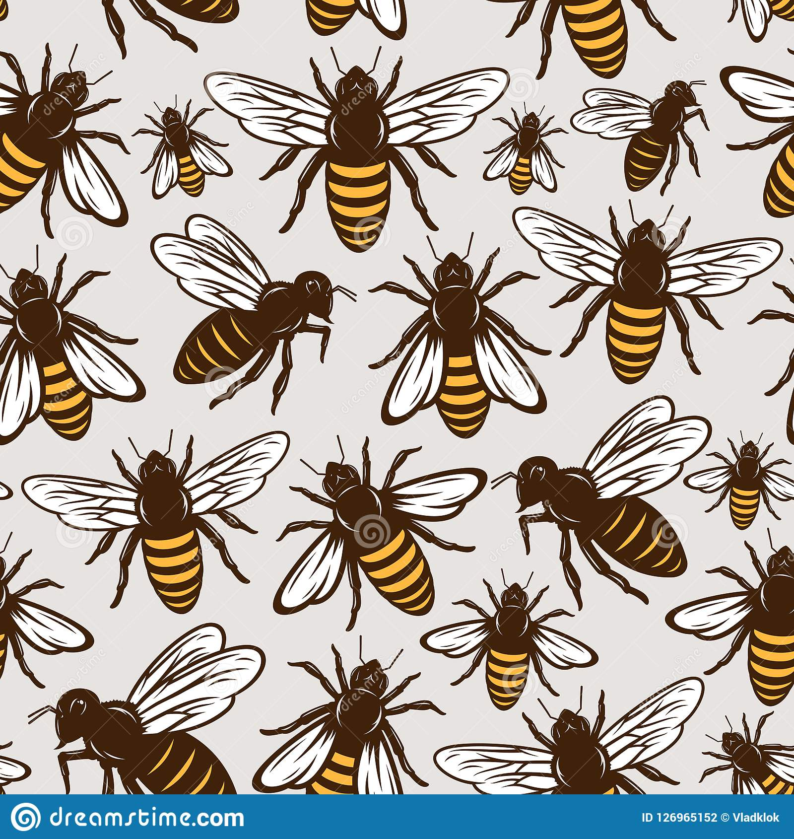 Vector honey bee seamless pattern or background
