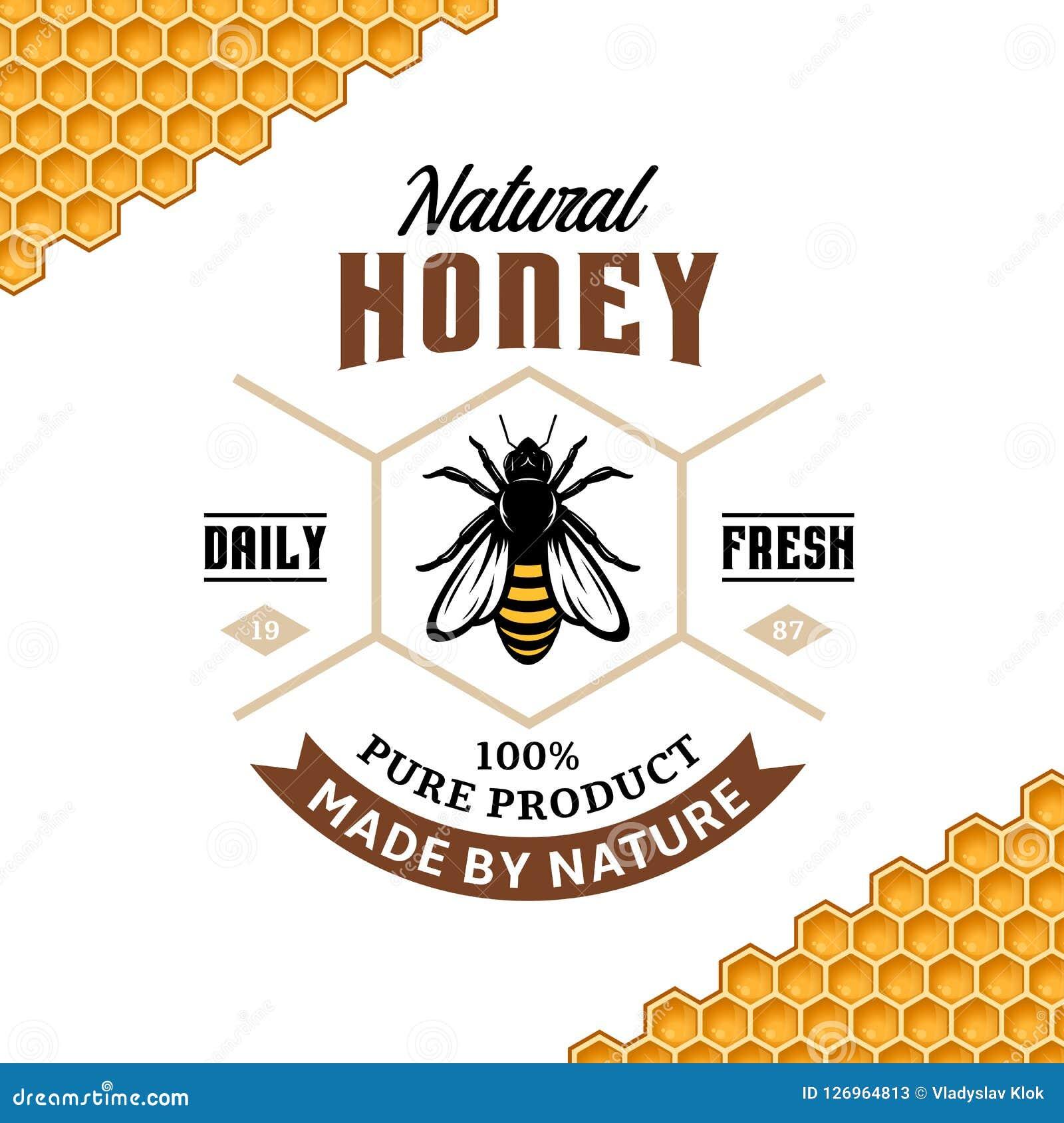 Vector Honey Vintage Logo Stock Vector Illustration Of Brown