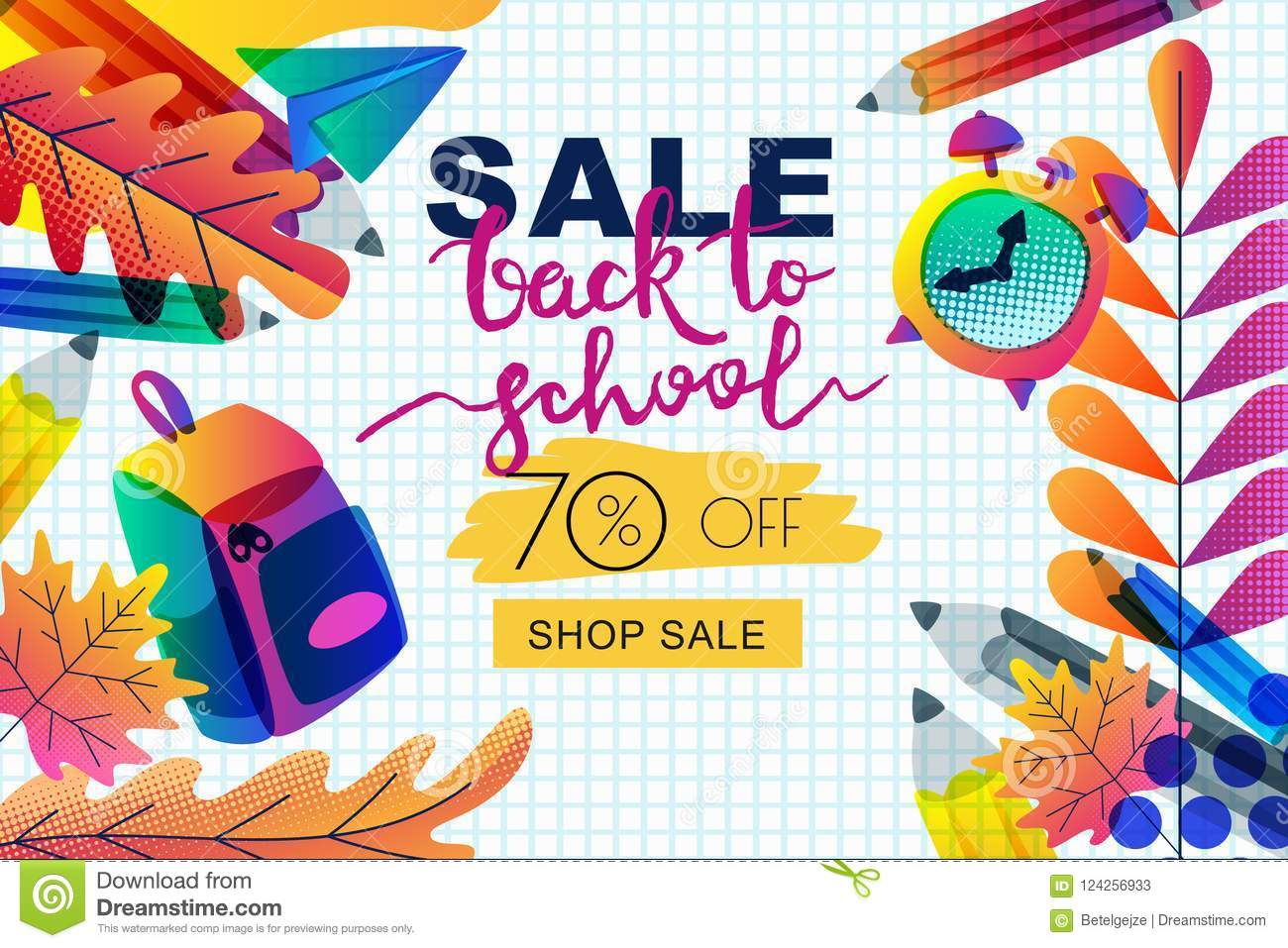 Vector Back To School Sale Banner Poster Template Color Gradients