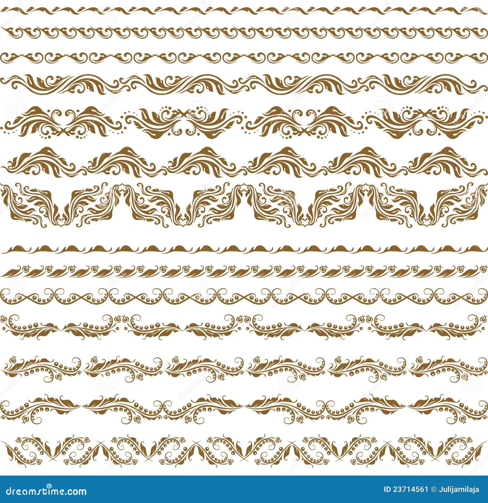 Vector horizontal de la decoración de los elementos