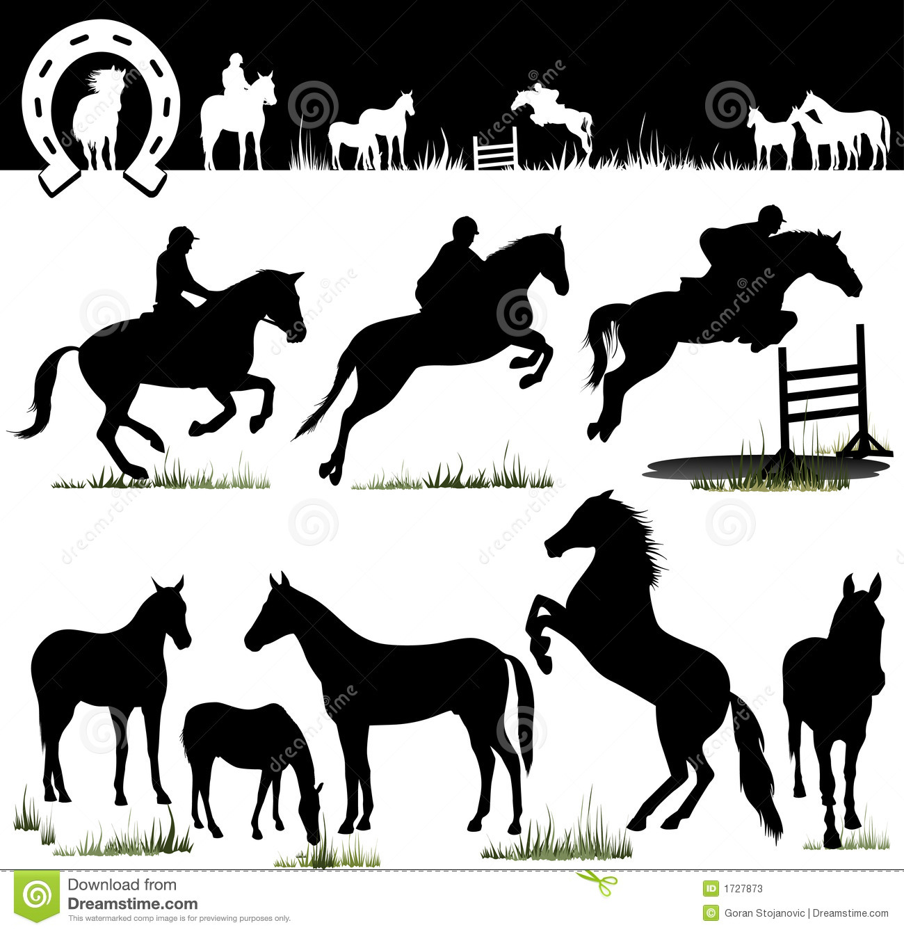 Vector Horse Silhouettes Stock Photos - Image: 1727873