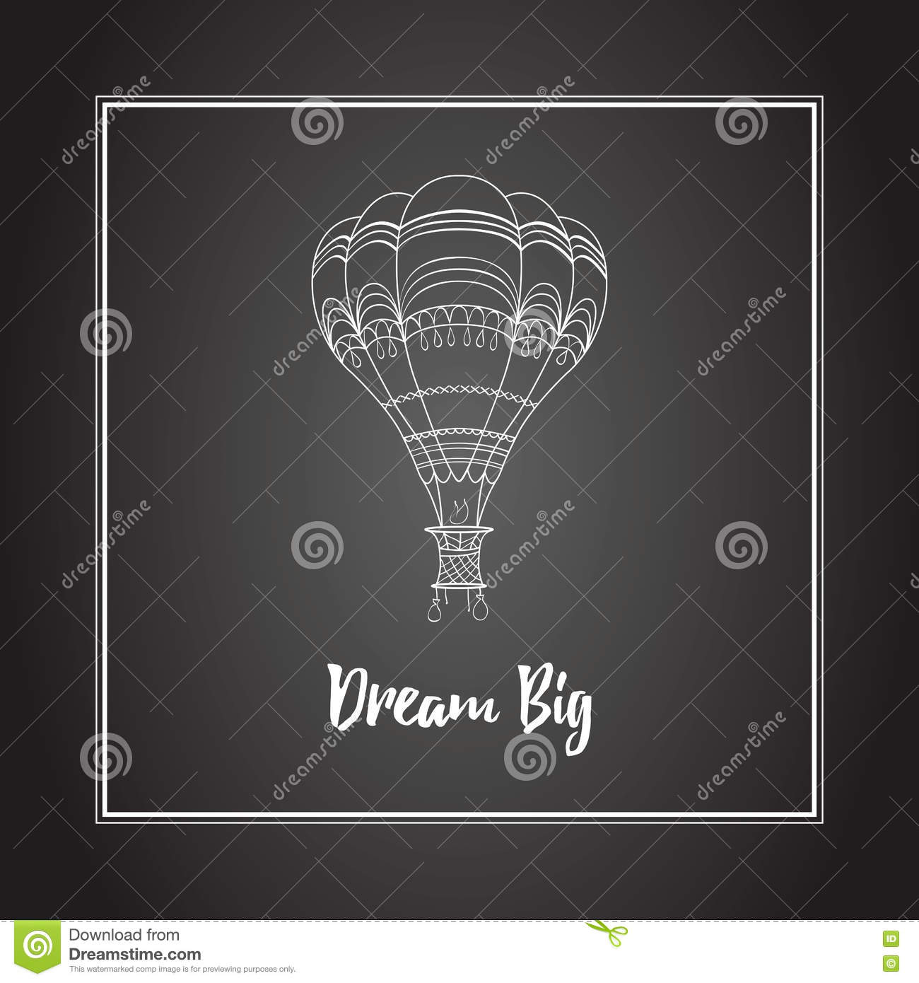 Vector Hot Air Balloon Illustration On The Black Board Stock