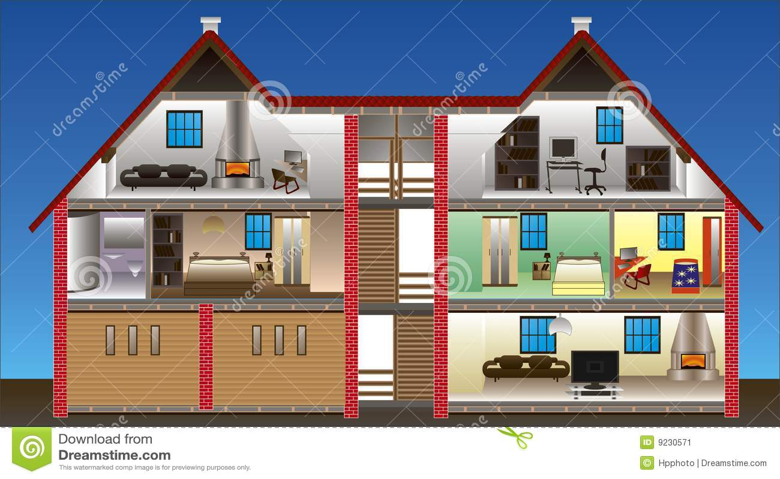 Stock Image Vector House Image9230571 on 2d Floor Plan Design