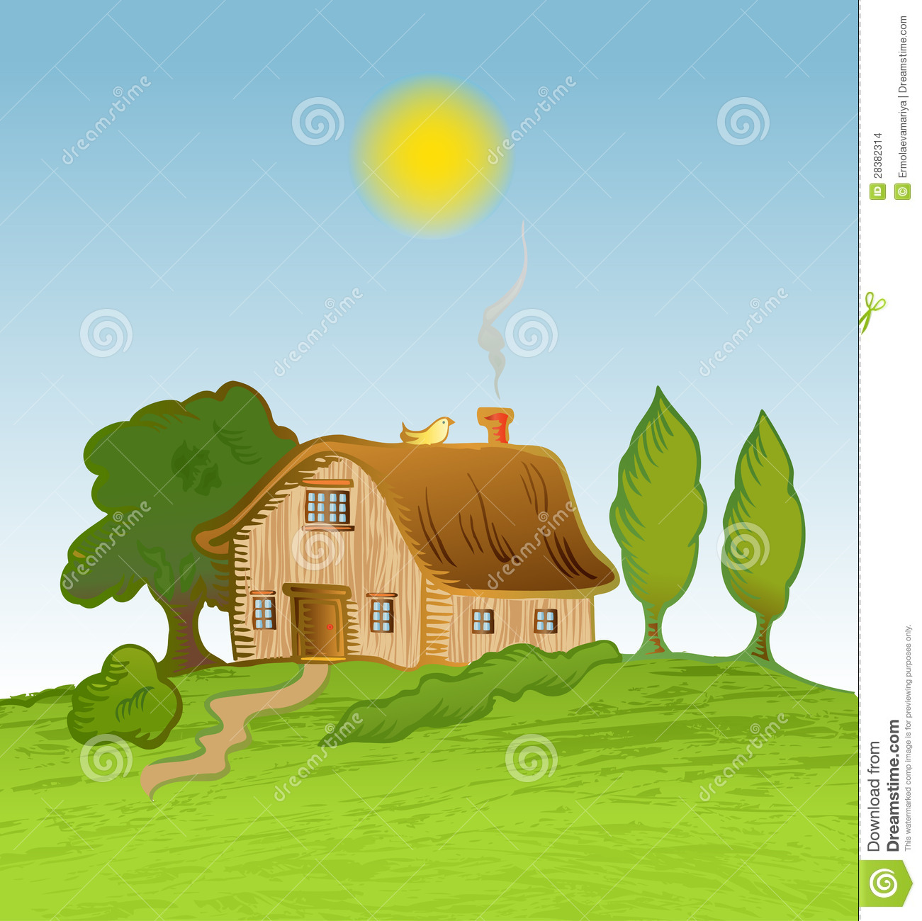 Vector House Background With Trees Stock Images Image